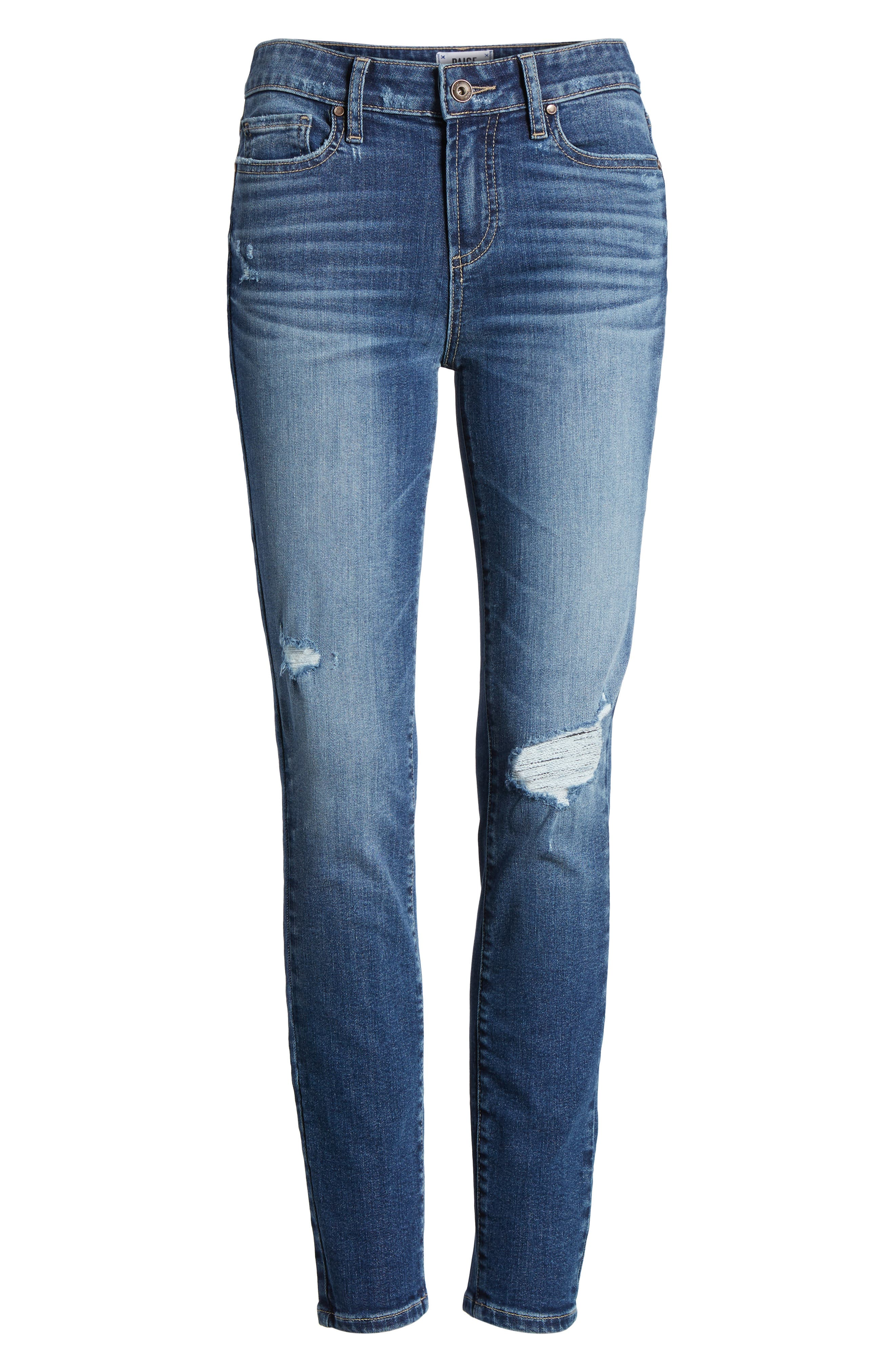 Transcend Vintage - Verdugo Ankle Skinny Jeans,                             Alternate thumbnail 7, color,                             Pico Destructed