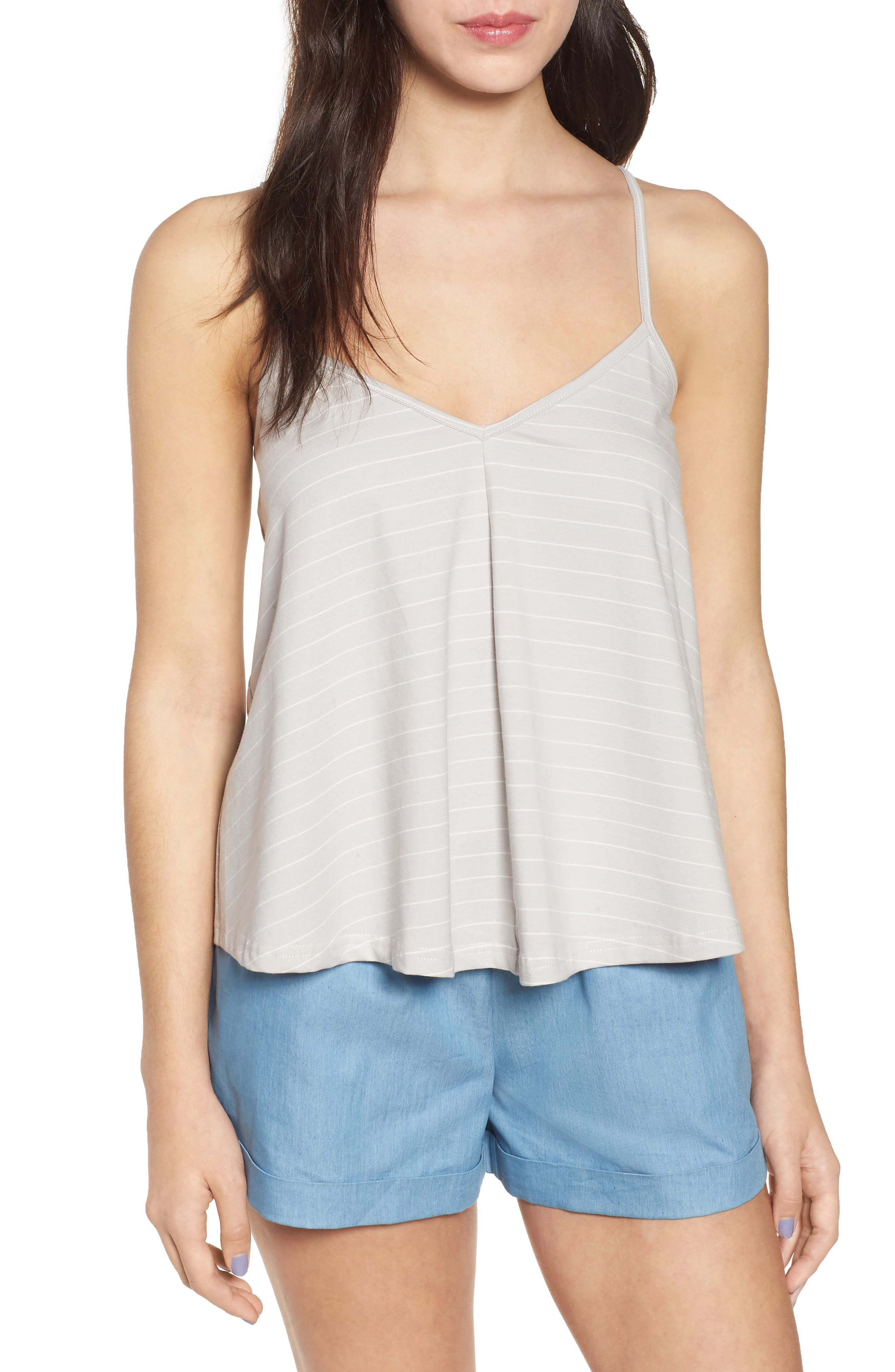 Harlow Stripe Camisole Top,                             Main thumbnail 1, color,                             Pewter