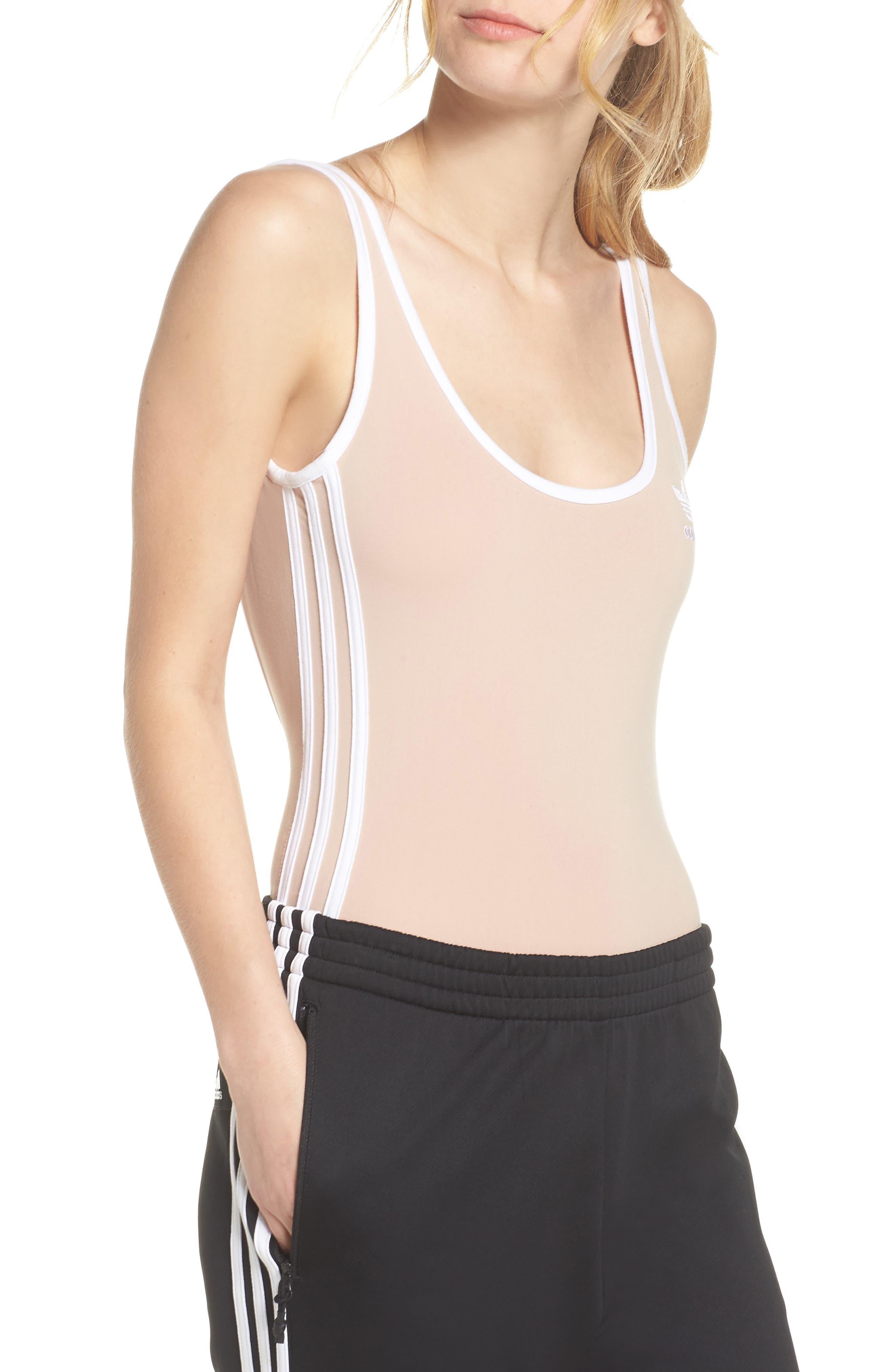 3-Stripes Bodysuit,                             Main thumbnail 1, color,                             Ash Pearl