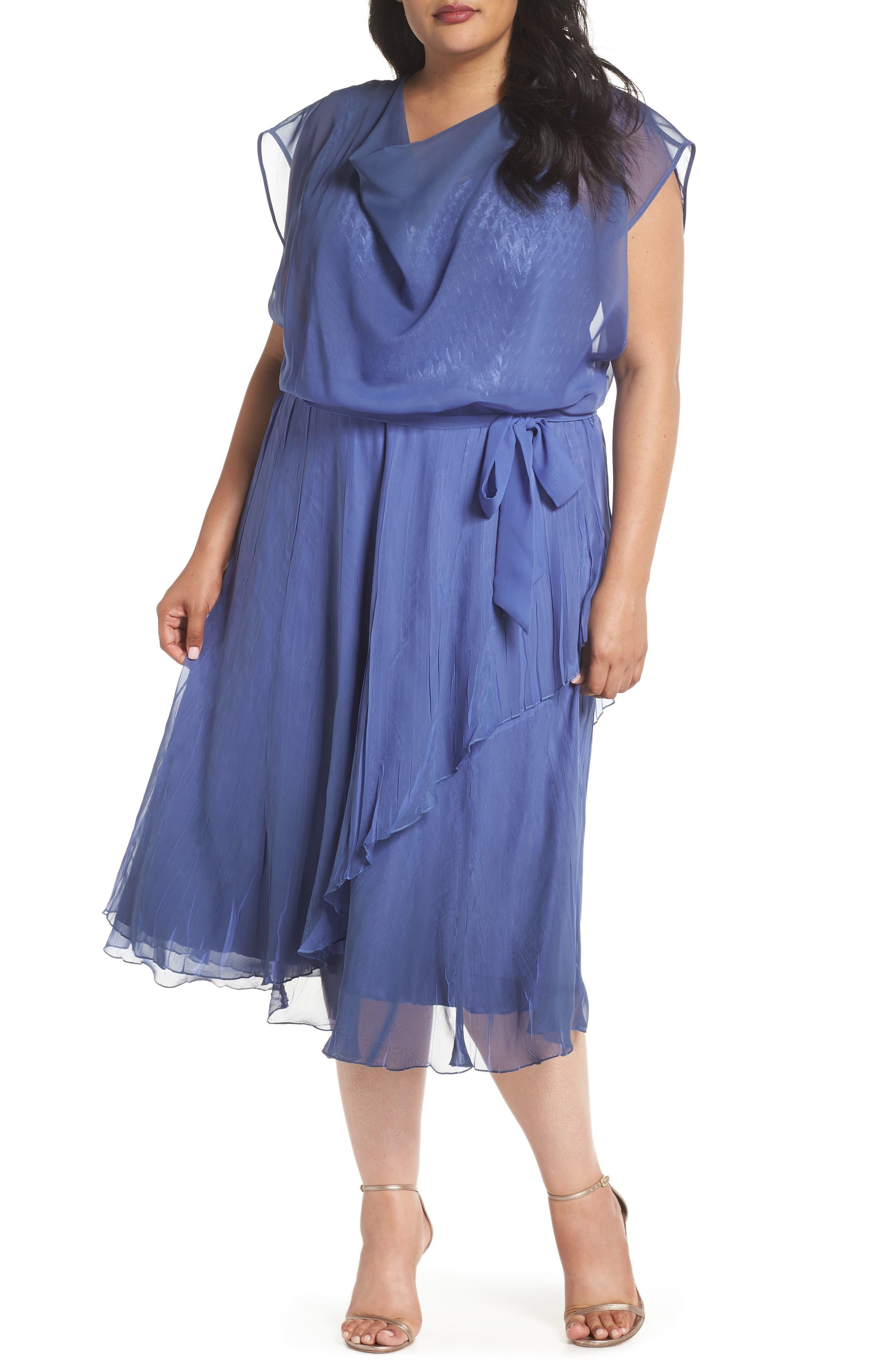 Charmeuse & Chiffon Blouson Dress,                         Main,                         color, Fregatta Blue Ombre