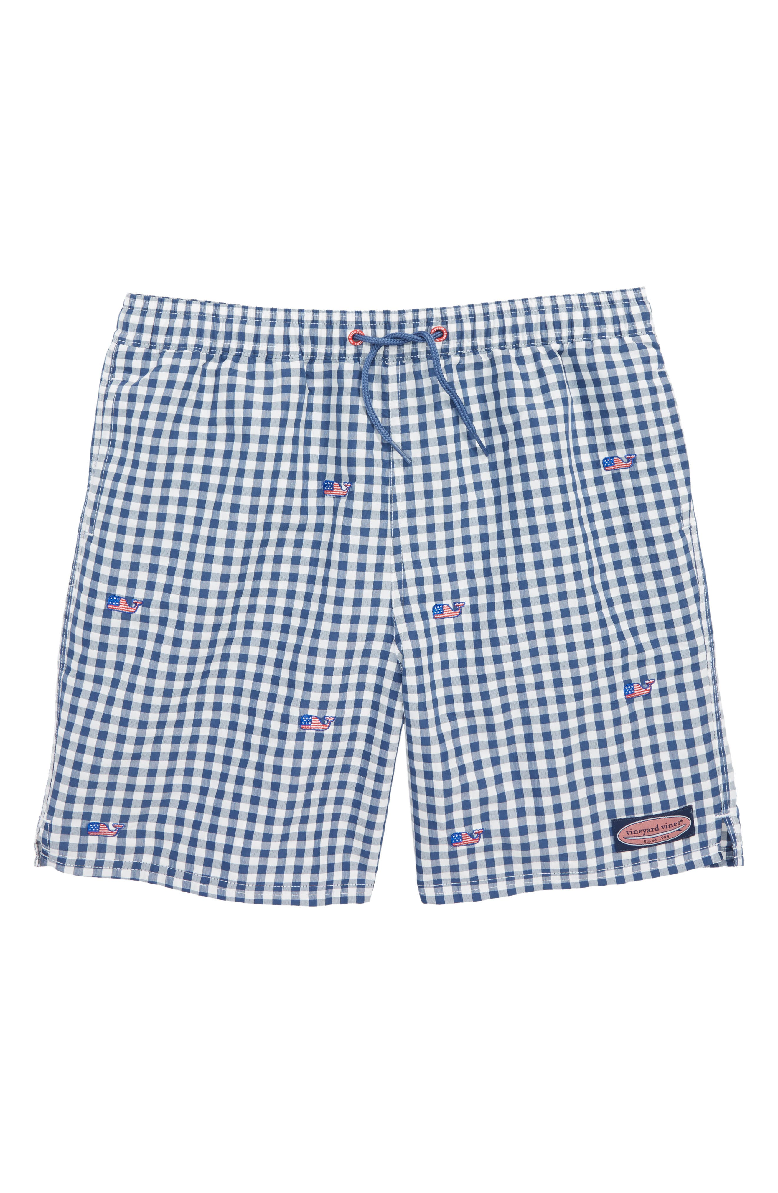 Chappy Gingham Flag Whale Swim Trunks,                         Main,                         color, Moonshine