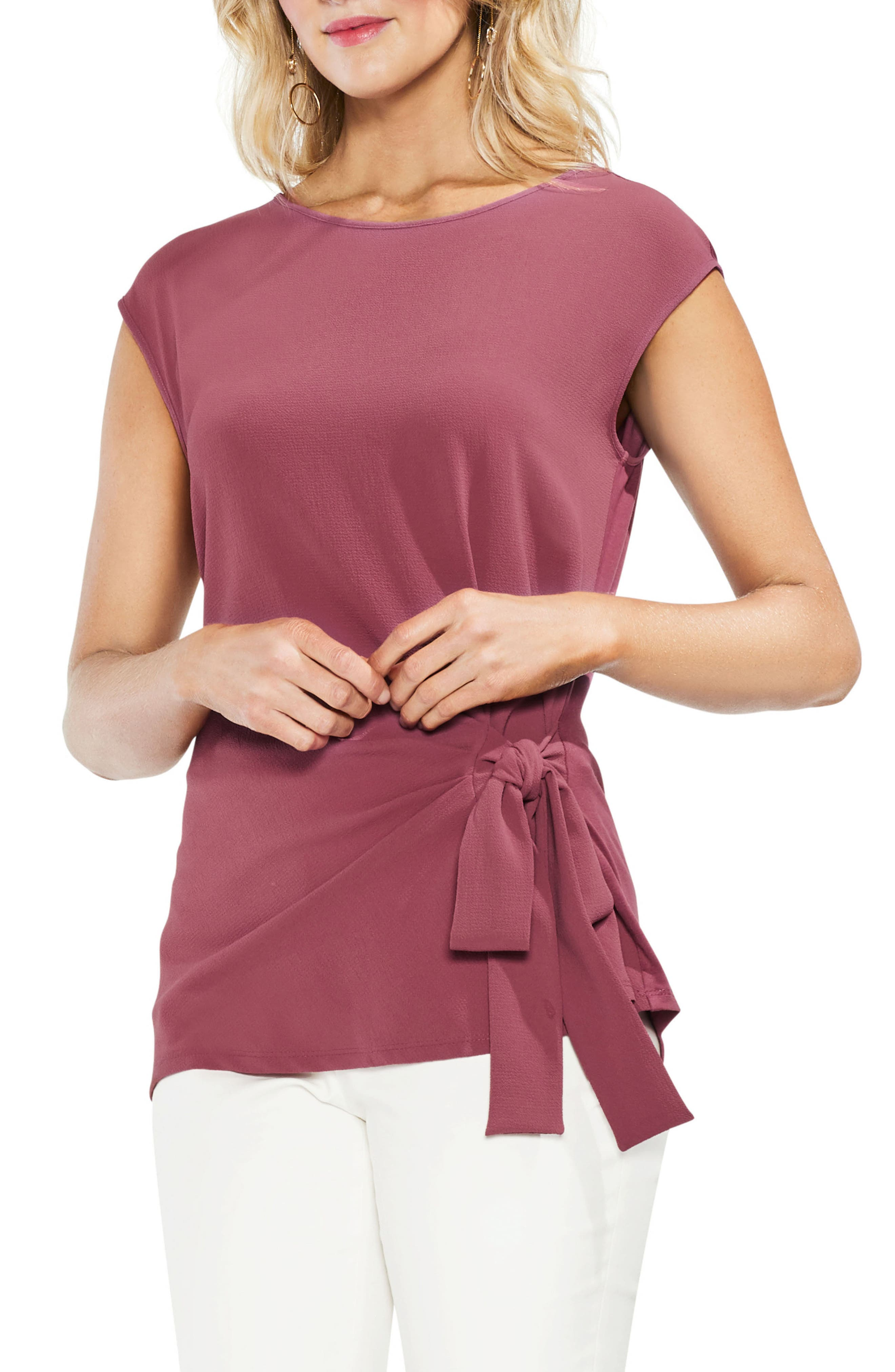Side Tie Ruched Stretch Crepe Top,                         Main,                         color, Summer Rose
