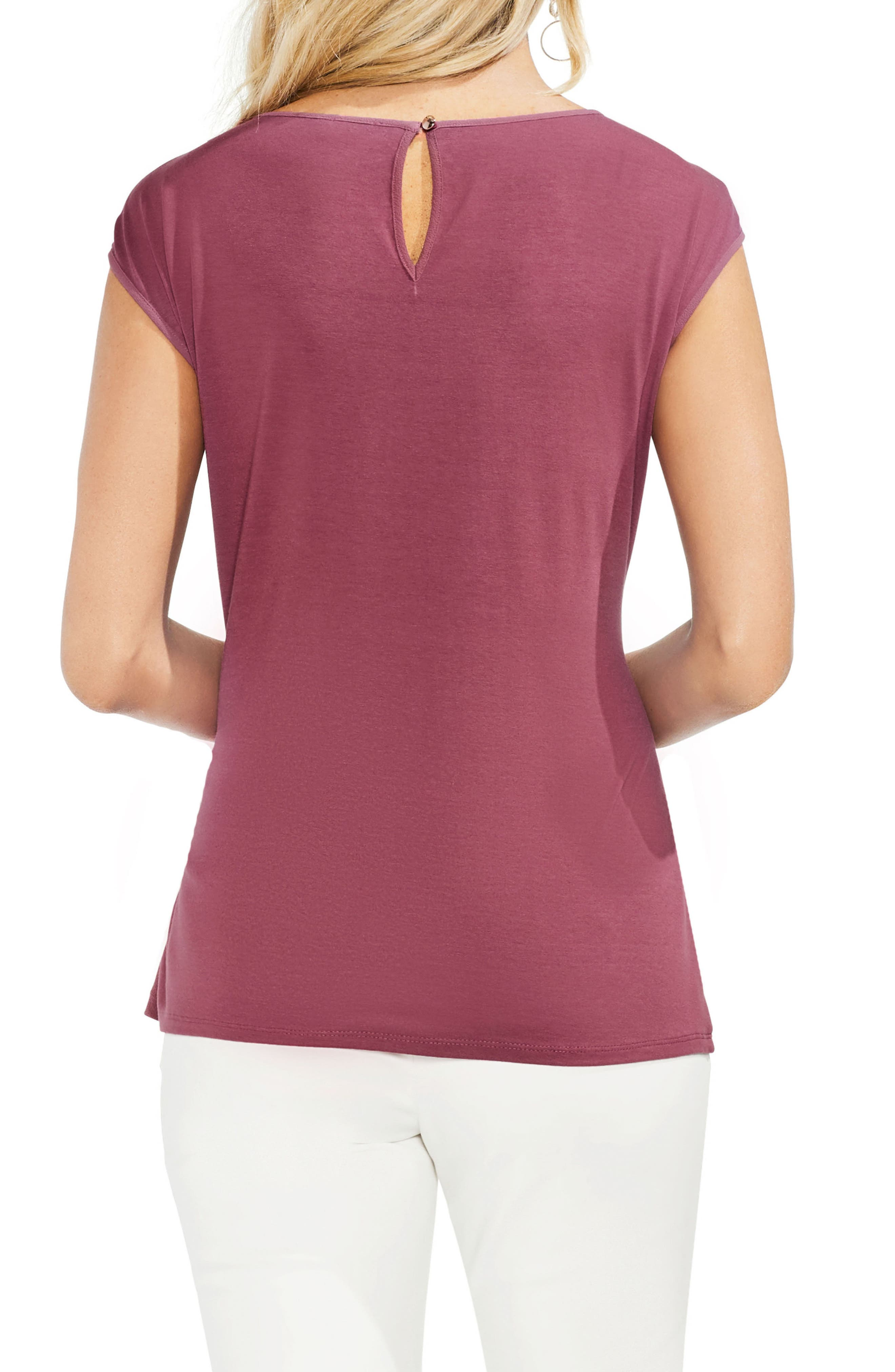 Side Tie Ruched Stretch Crepe Top,                             Alternate thumbnail 2, color,                             Summer Rose