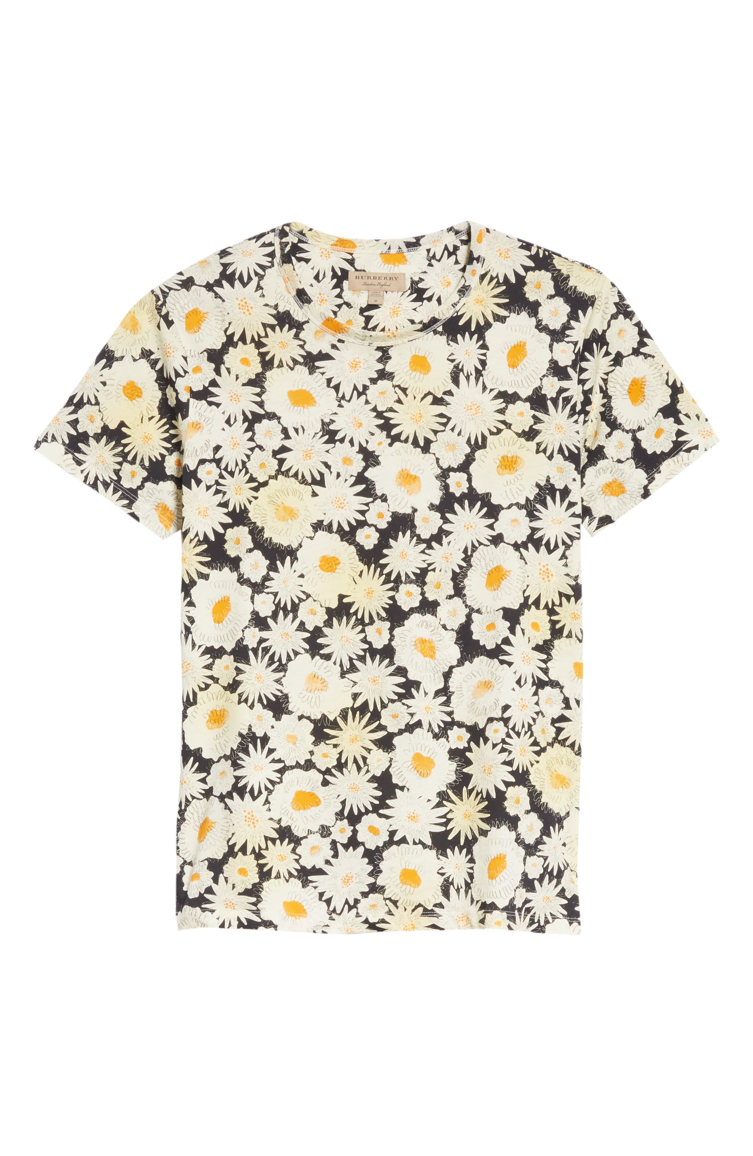 Adderton Flower Print T-Shirt,                             Alternate thumbnail 6, color,                             Black