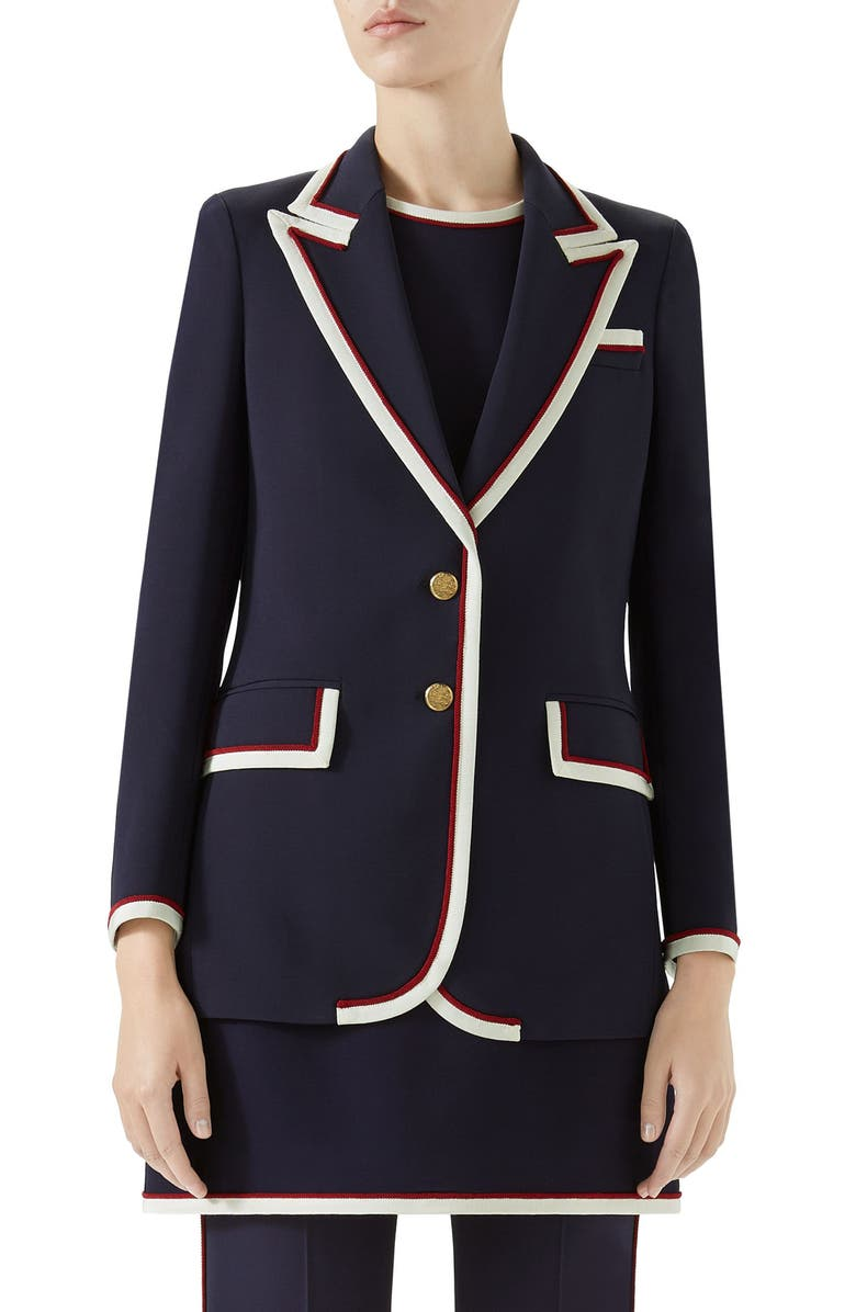 Peak Lapel Stretch Cady Blazer