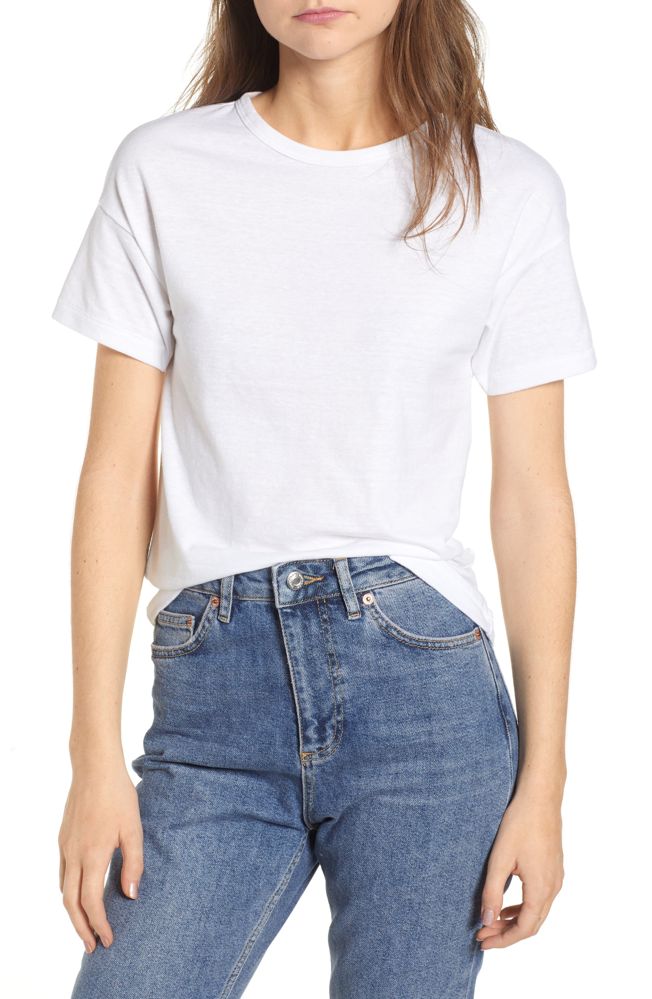 Short Sleeve Marl T-Shirt,                             Main thumbnail 1, color,                             White