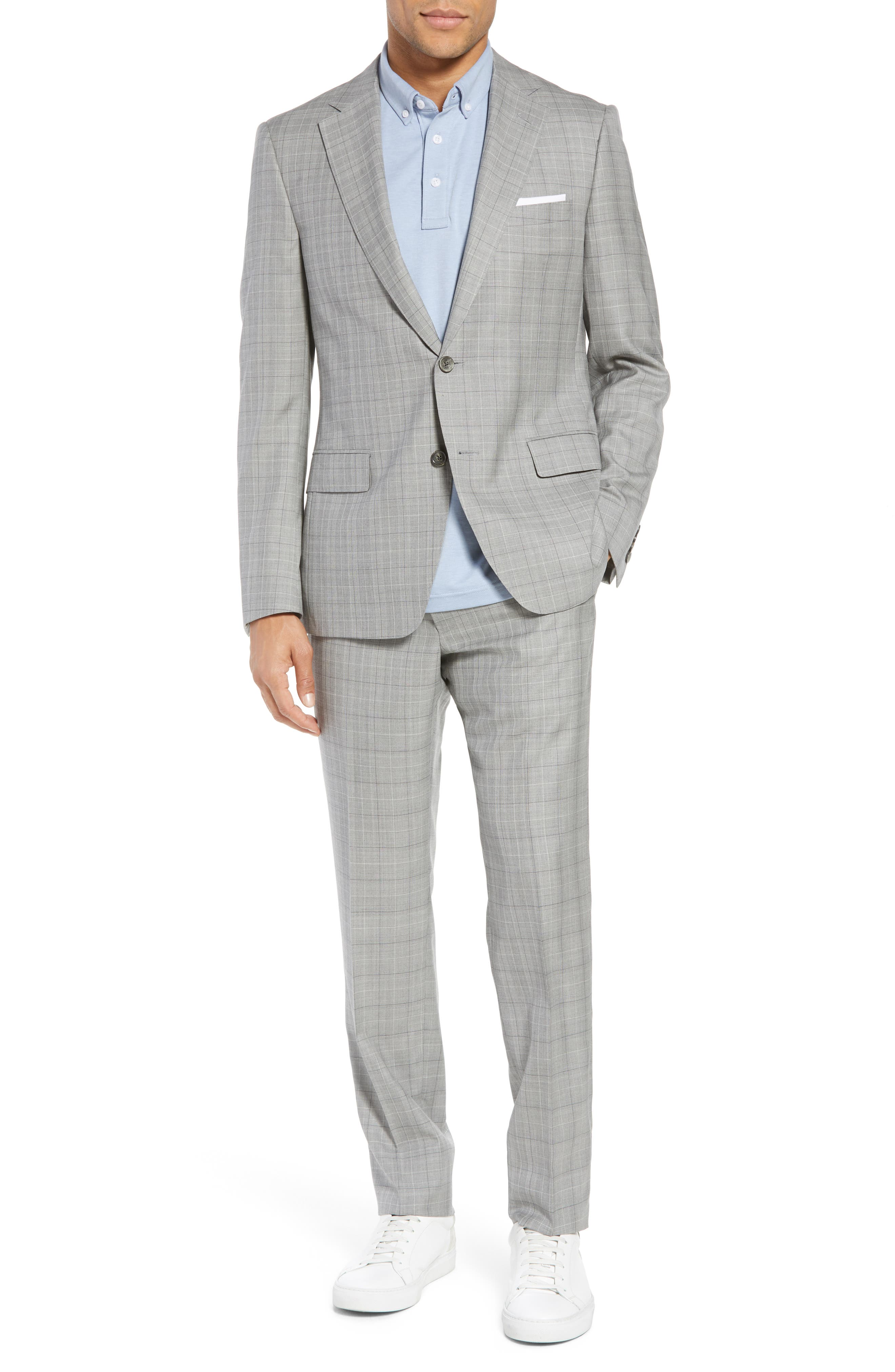 Classic Fit Plaid Wool & Silk Suit,                             Main thumbnail 1, color,                             Grey