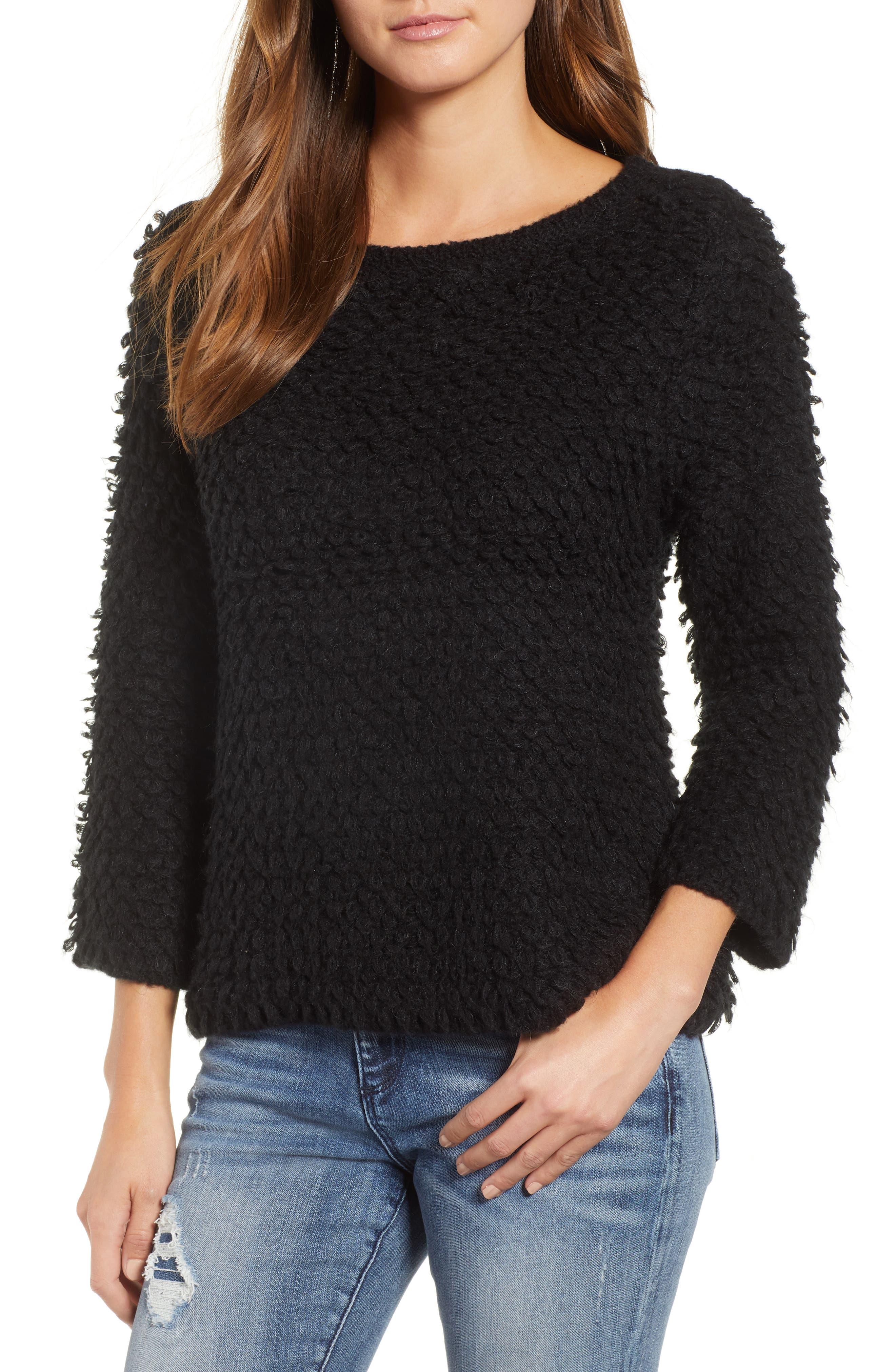 Loop Stitch Crewneck Sweater,                             Main thumbnail 1, color,                             Black