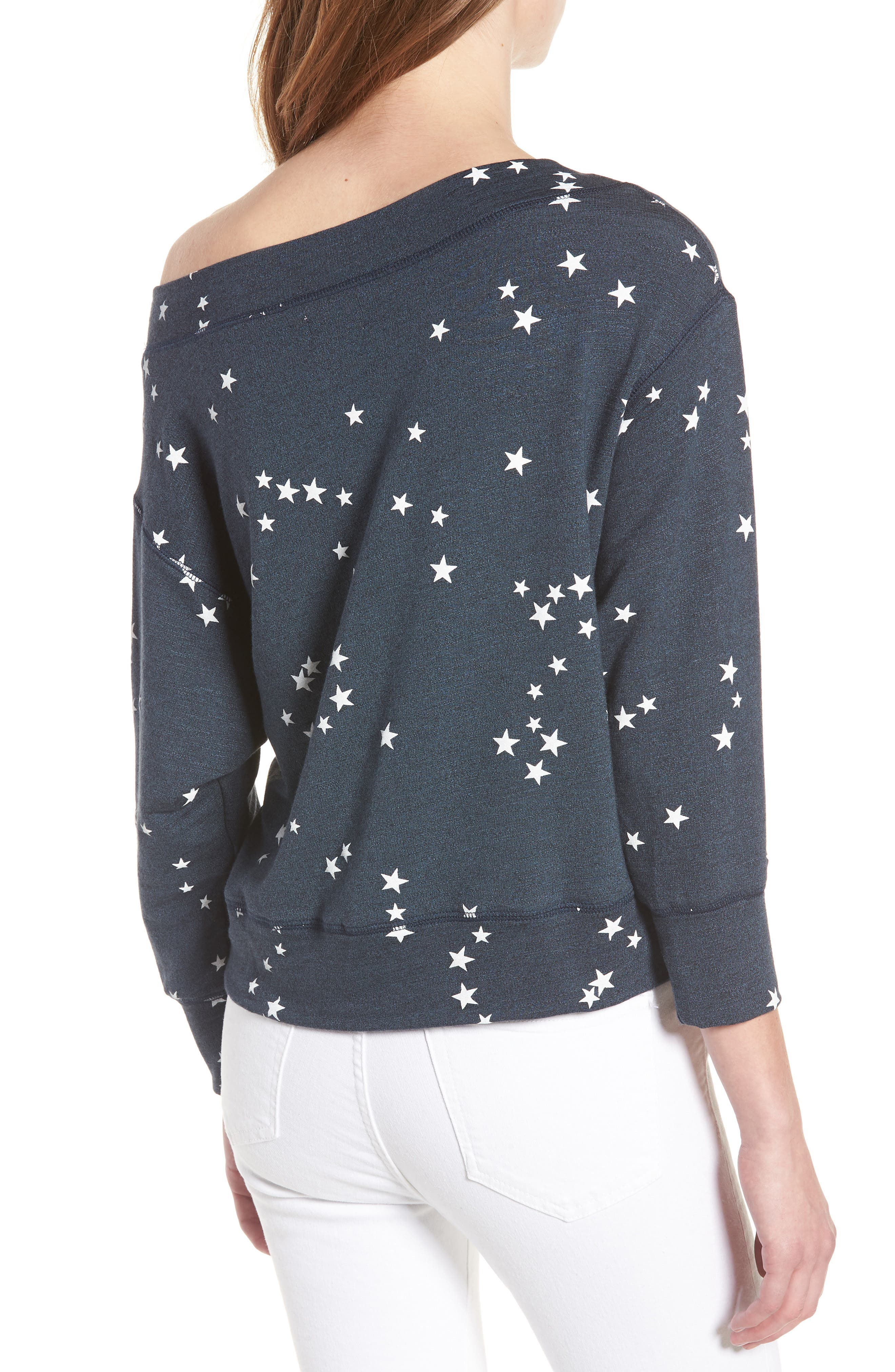 Star Off the Shoulder Pullover,                             Alternate thumbnail 2, color,                             Navy