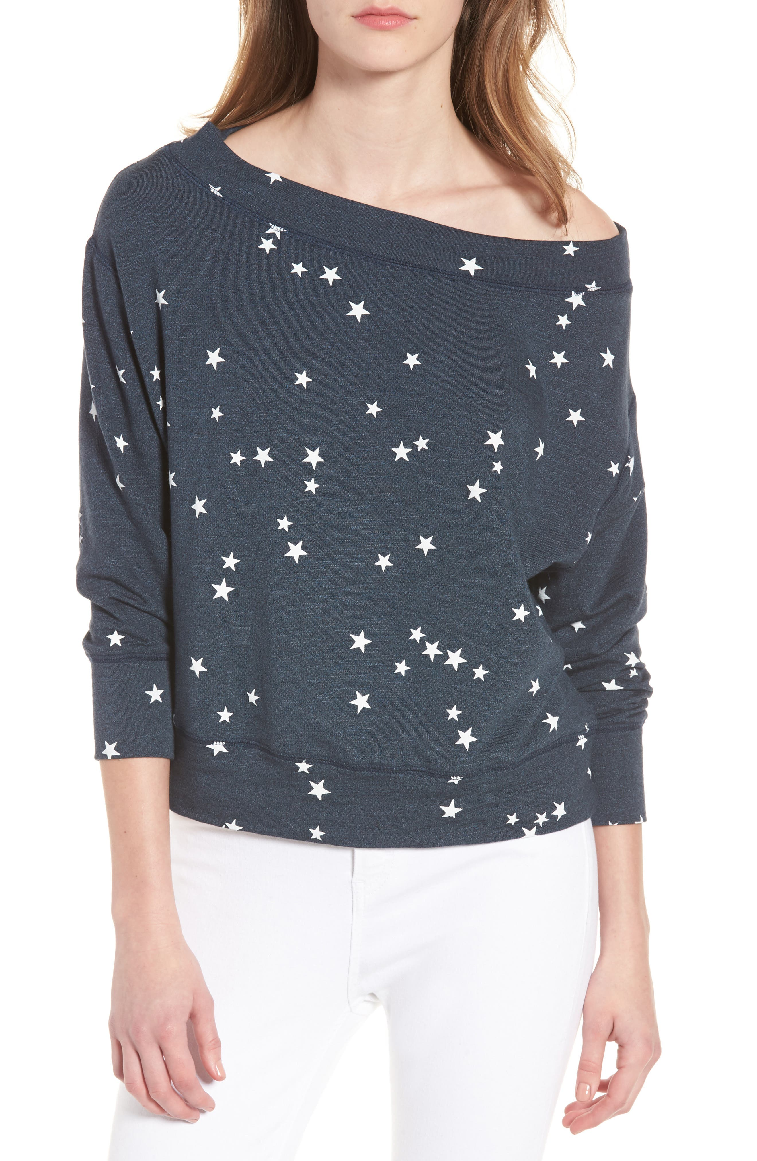 Star Off the Shoulder Pullover,                             Main thumbnail 1, color,                             Navy