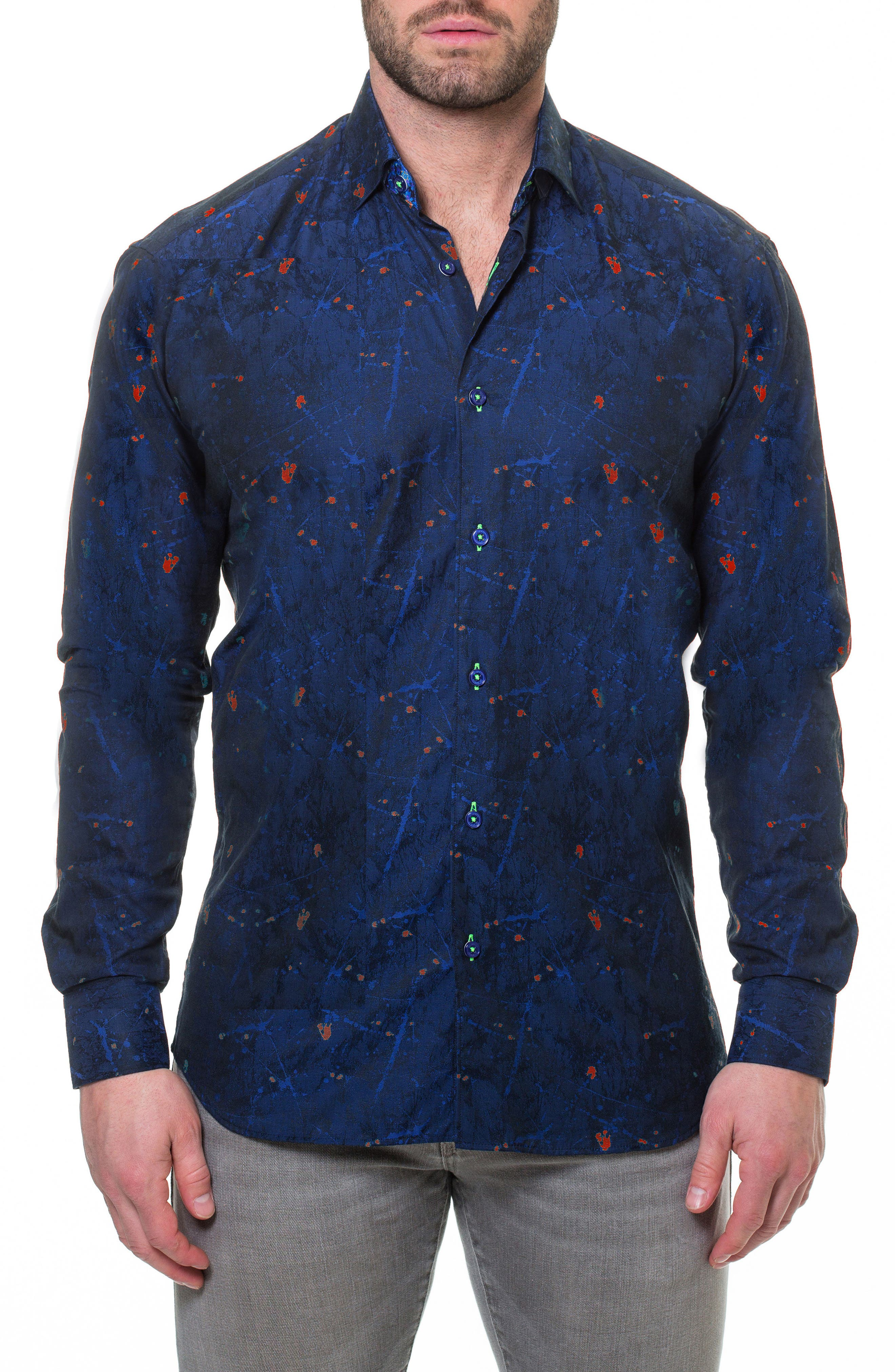 Luxor Reaction Slim Fit Sport Shirt,                         Main,                         color, Blue