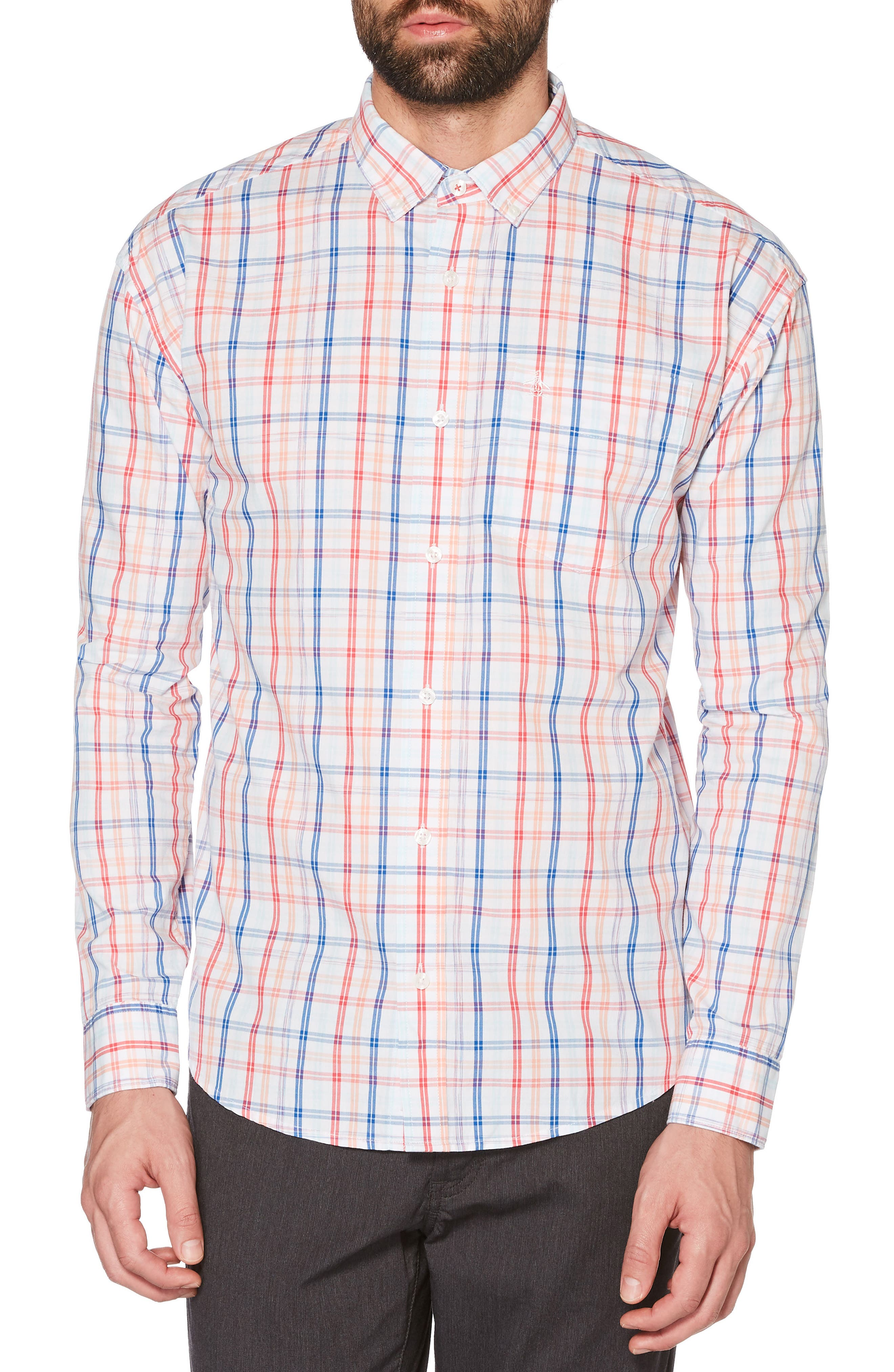 P55 Space Dye Plaid Shirt,                         Main,                         color, Bright White