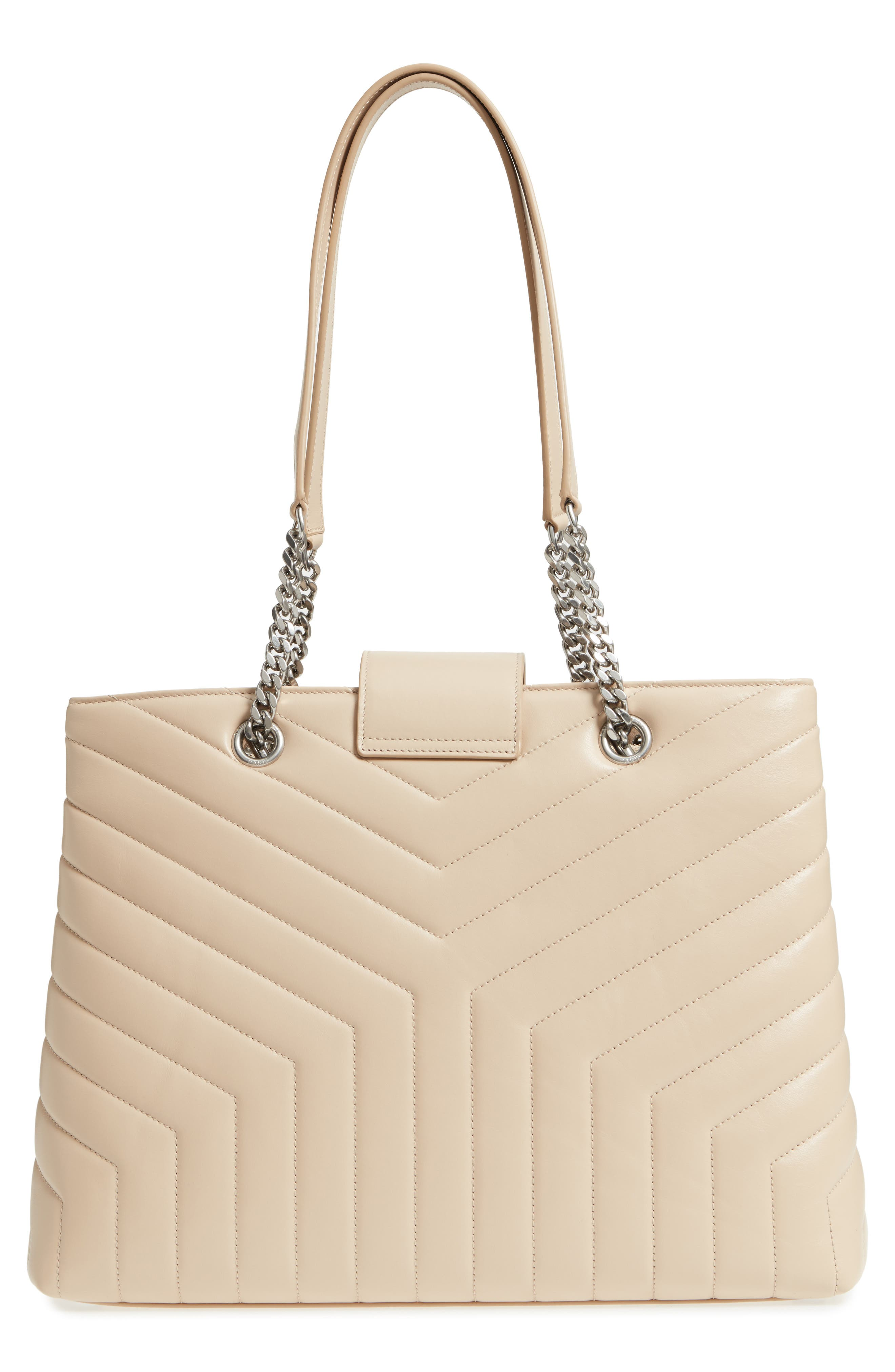 Large Loulou Matelassé Leather Shopper,                             Alternate thumbnail 3, color,                             Nude Powder/ Nude Powder
