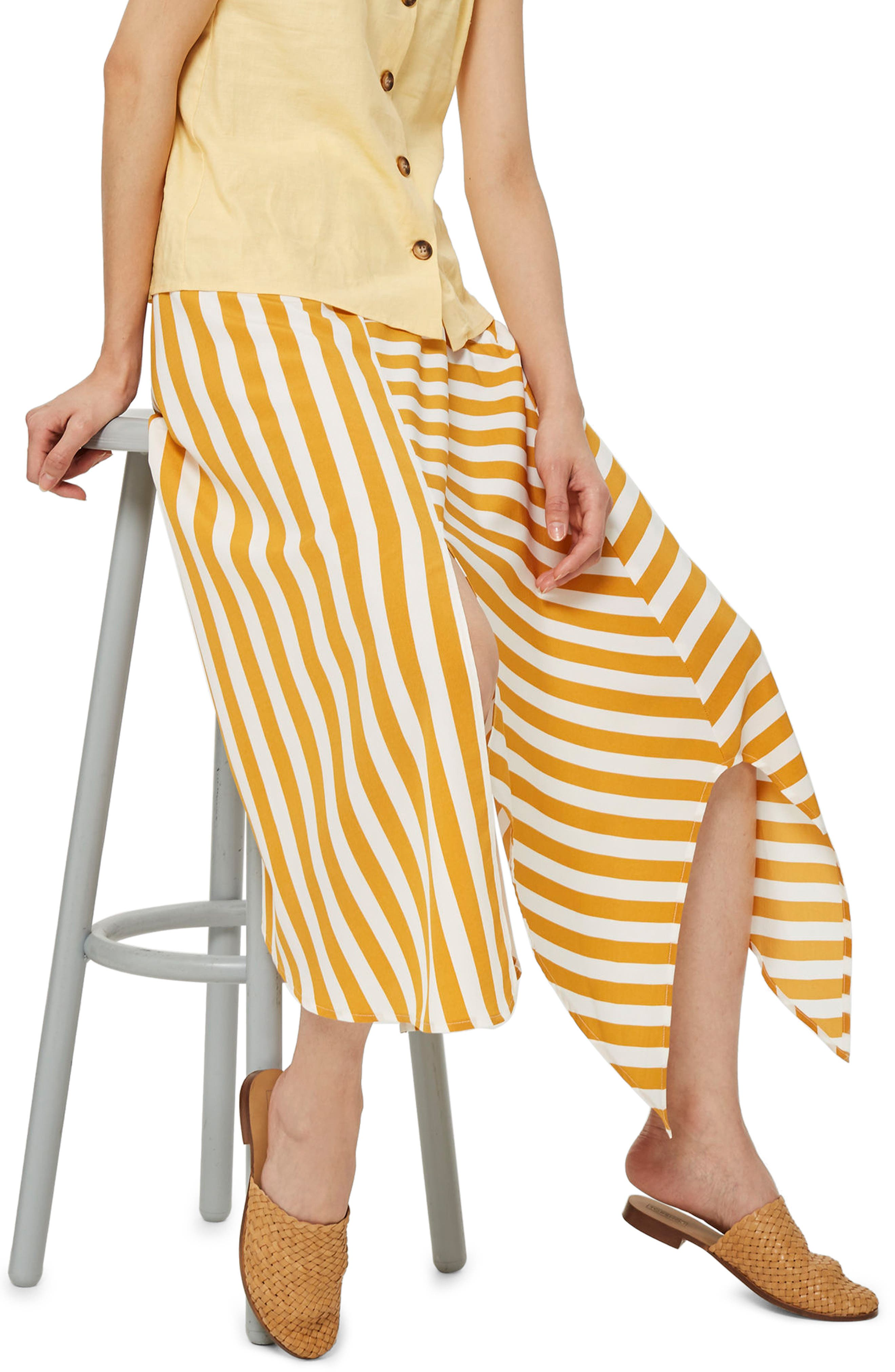 Humbug Button Handkerchief Hem Midi Skirt,                             Alternate thumbnail 2, color,                             Mustard Multi