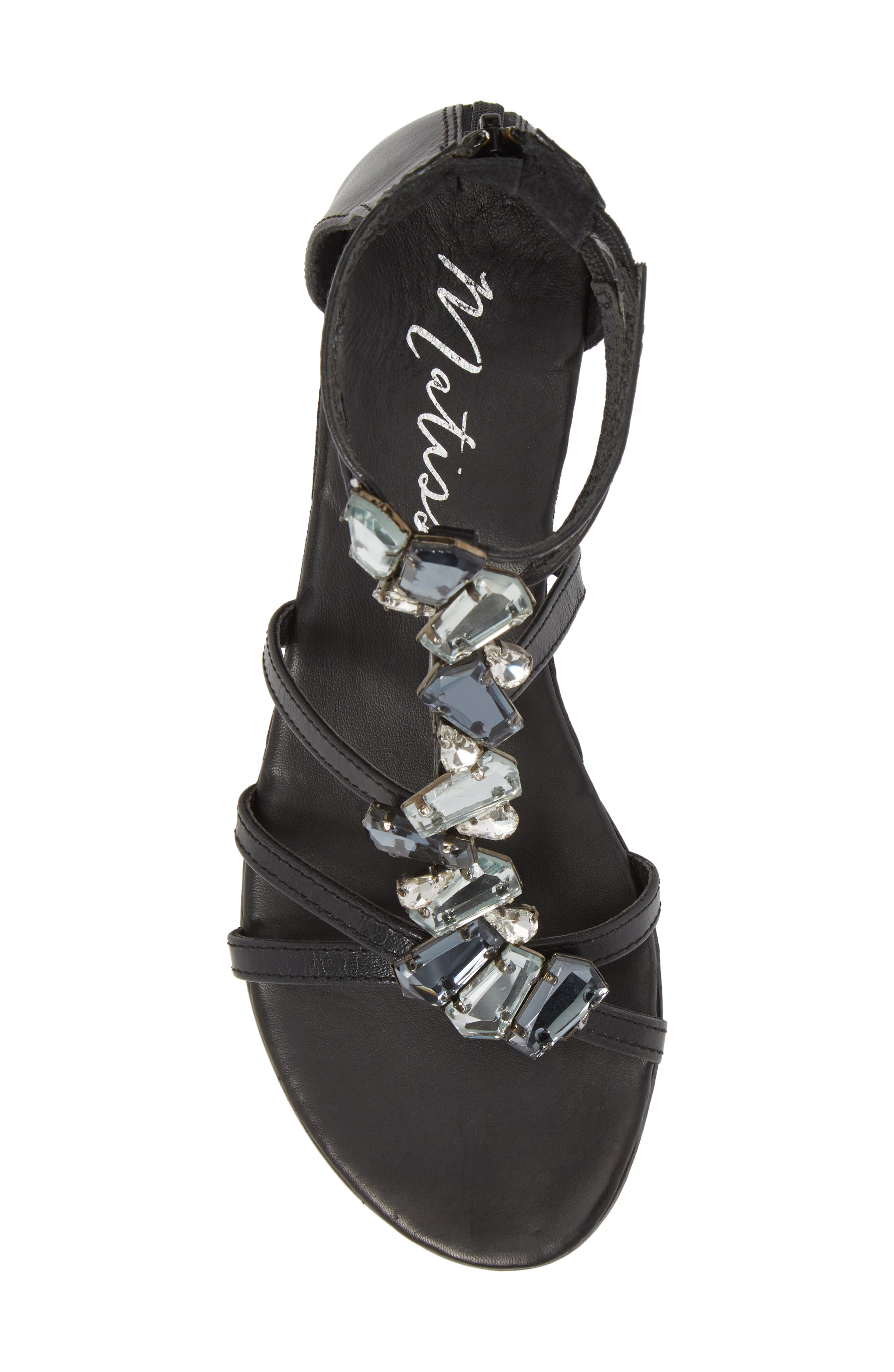 Didi Crystal Embellished Sandal,                             Alternate thumbnail 5, color,                             Black Leather