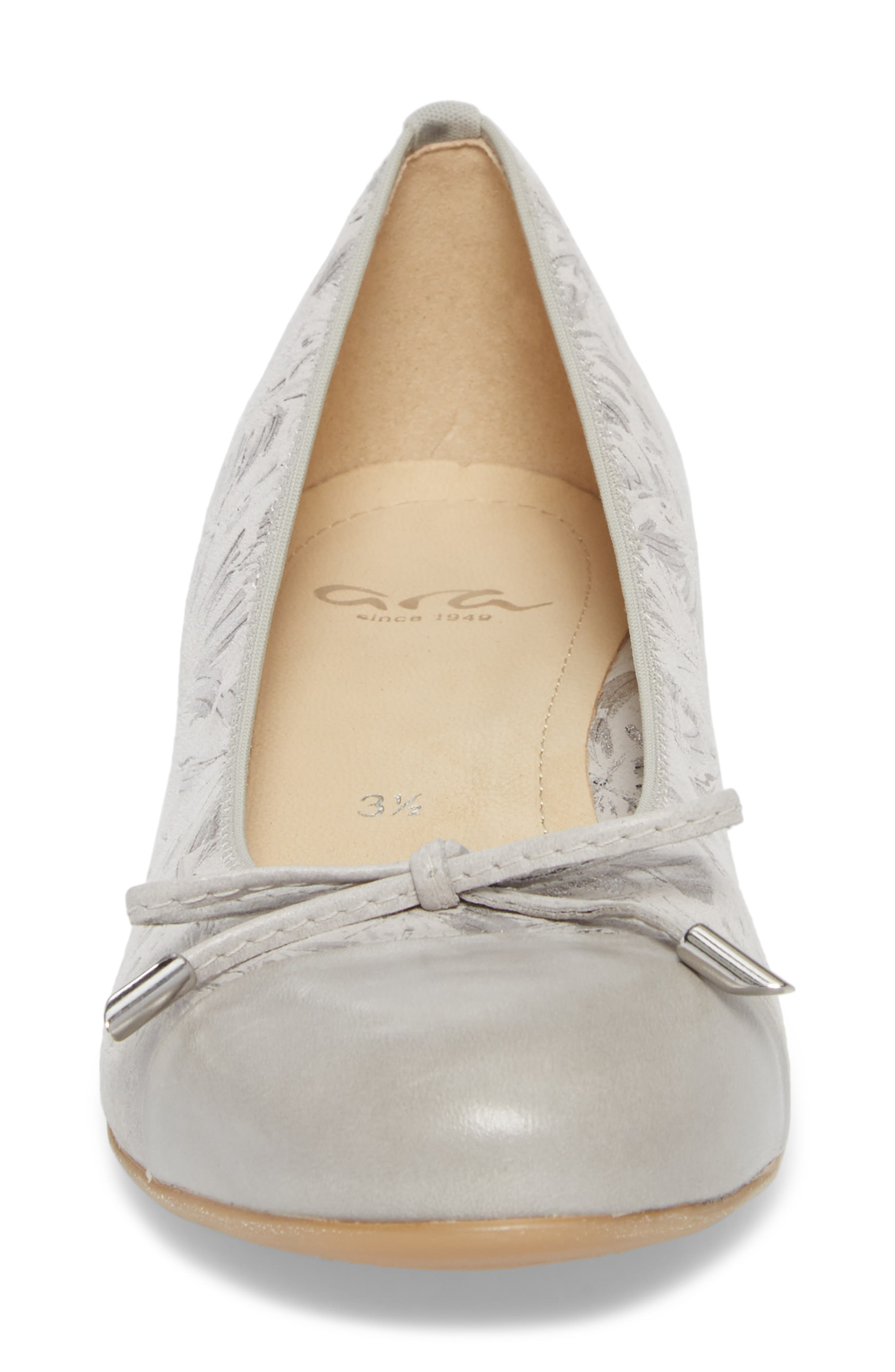 'Betty' Cap Toe Flat,                             Alternate thumbnail 4, color,                             Silver Leather