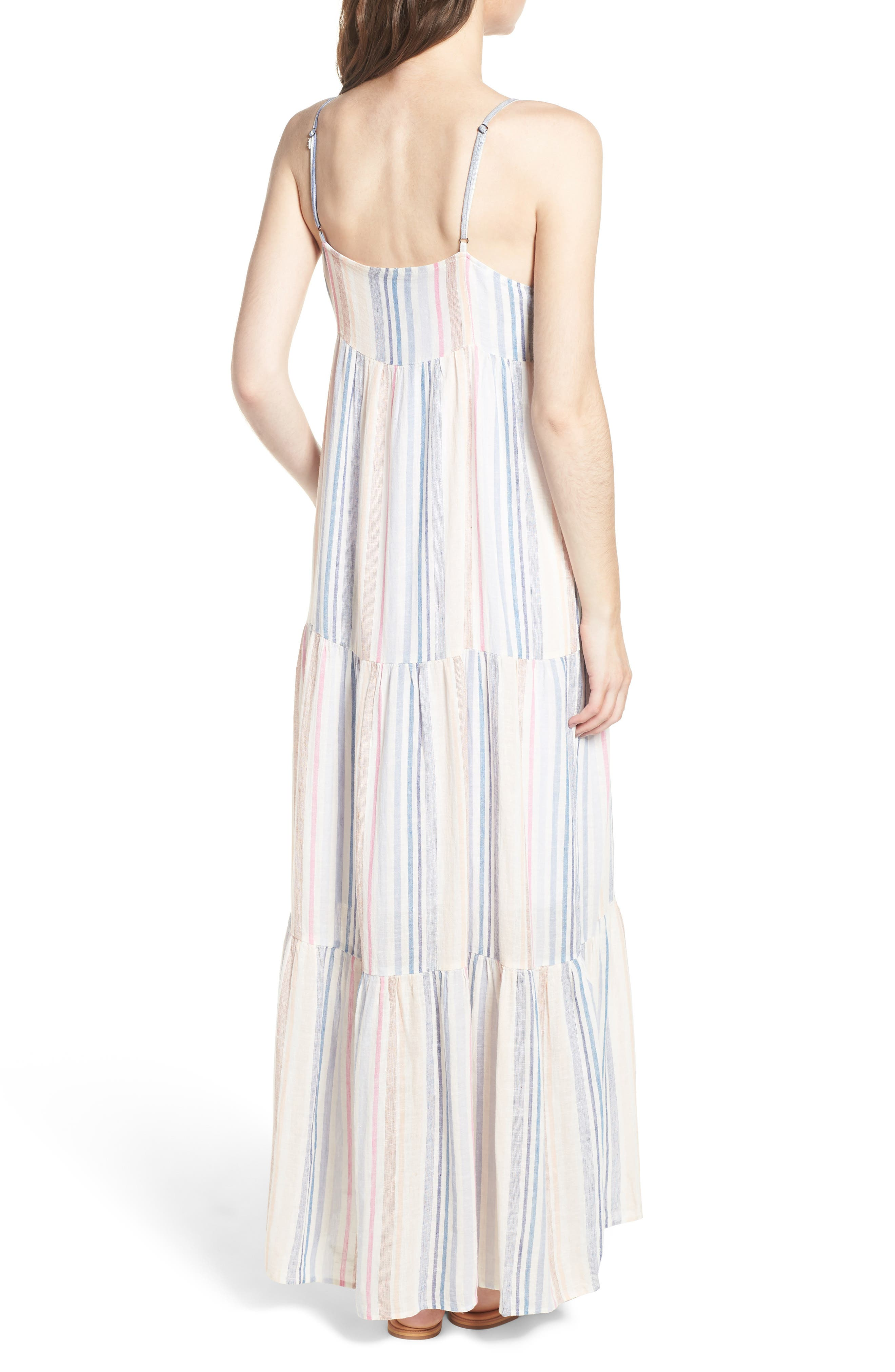Multistripe Linen Maxi Dress,                             Alternate thumbnail 2, color,                             Multi