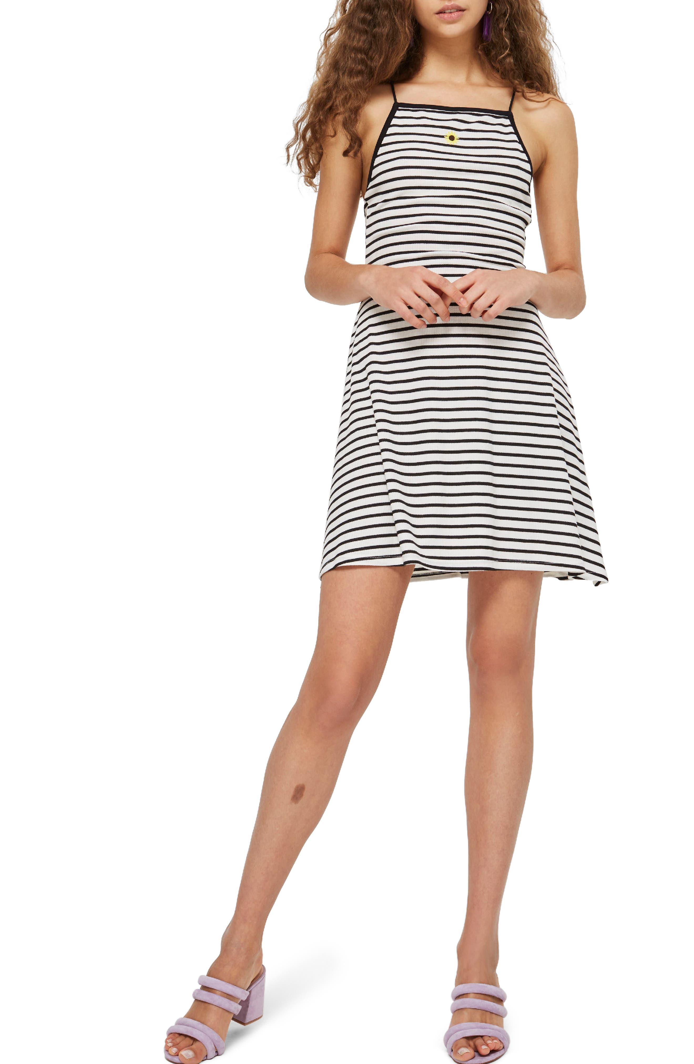 Stripe Skater Dress,                             Main thumbnail 1, color,                             White Multi