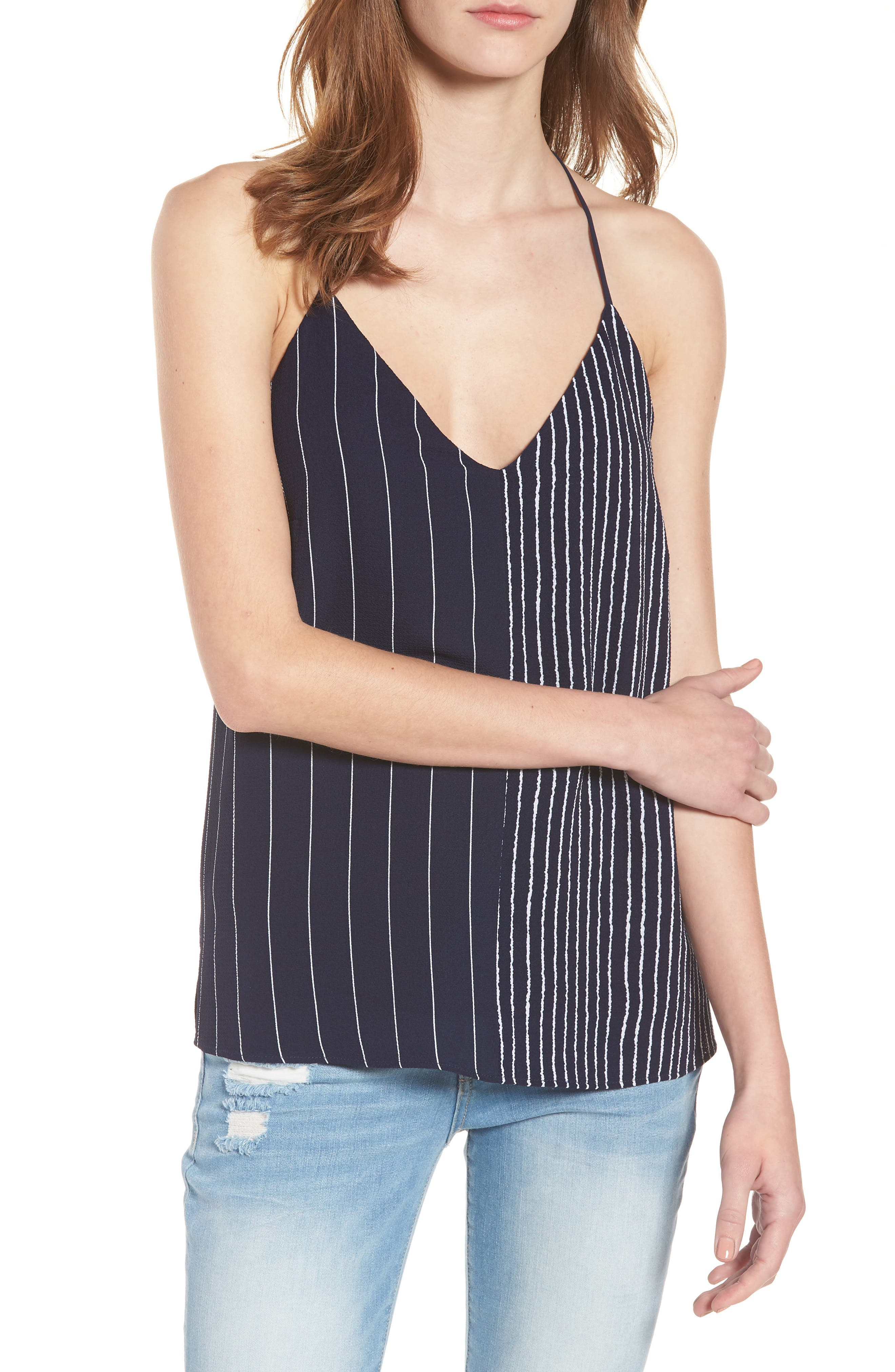 Mix Stripe Camisole,                             Main thumbnail 1, color,                             Navy/ White