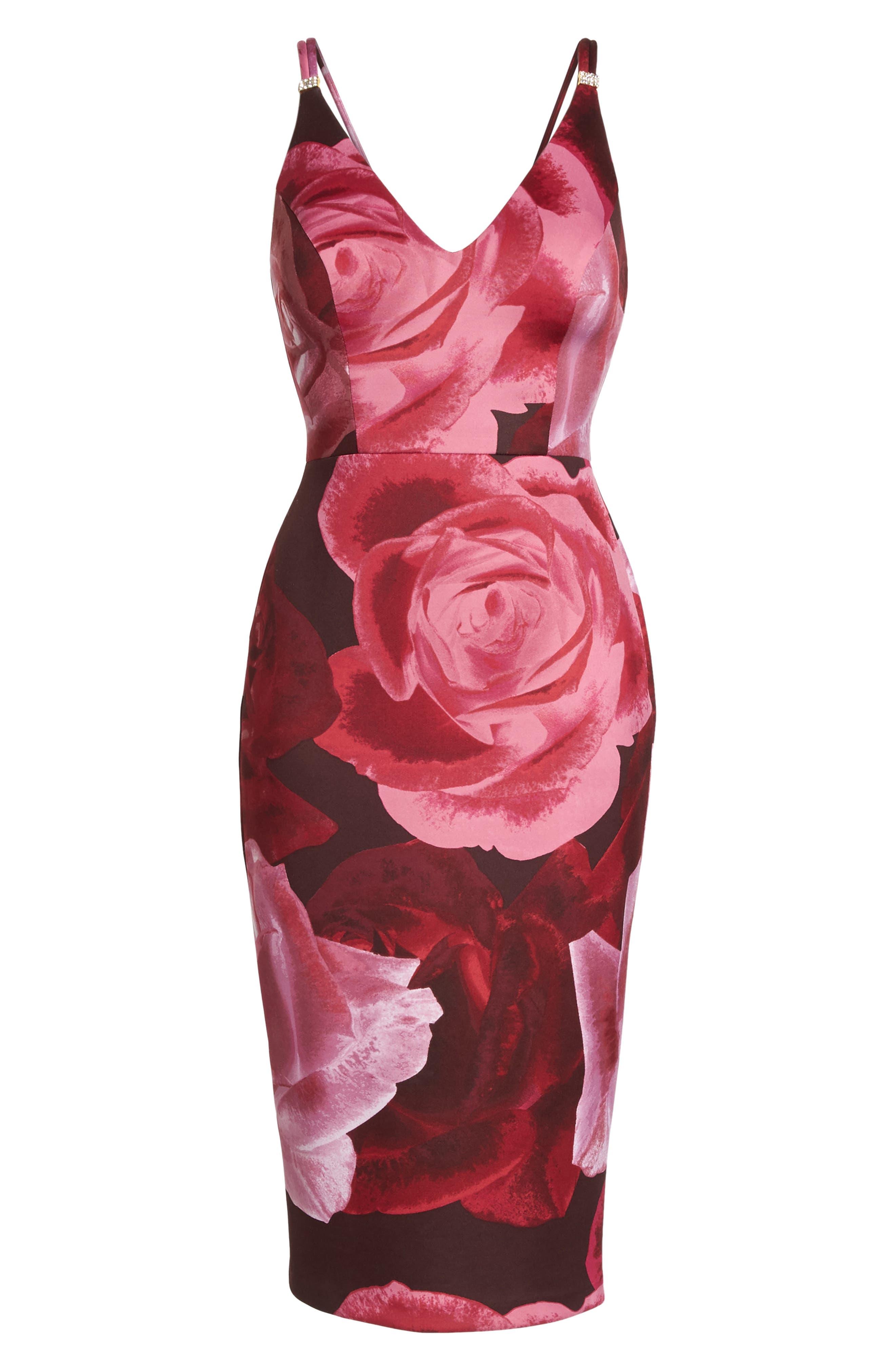 Floral Print Scuba Crepe Dress,                             Alternate thumbnail 6, color,                             Magenta