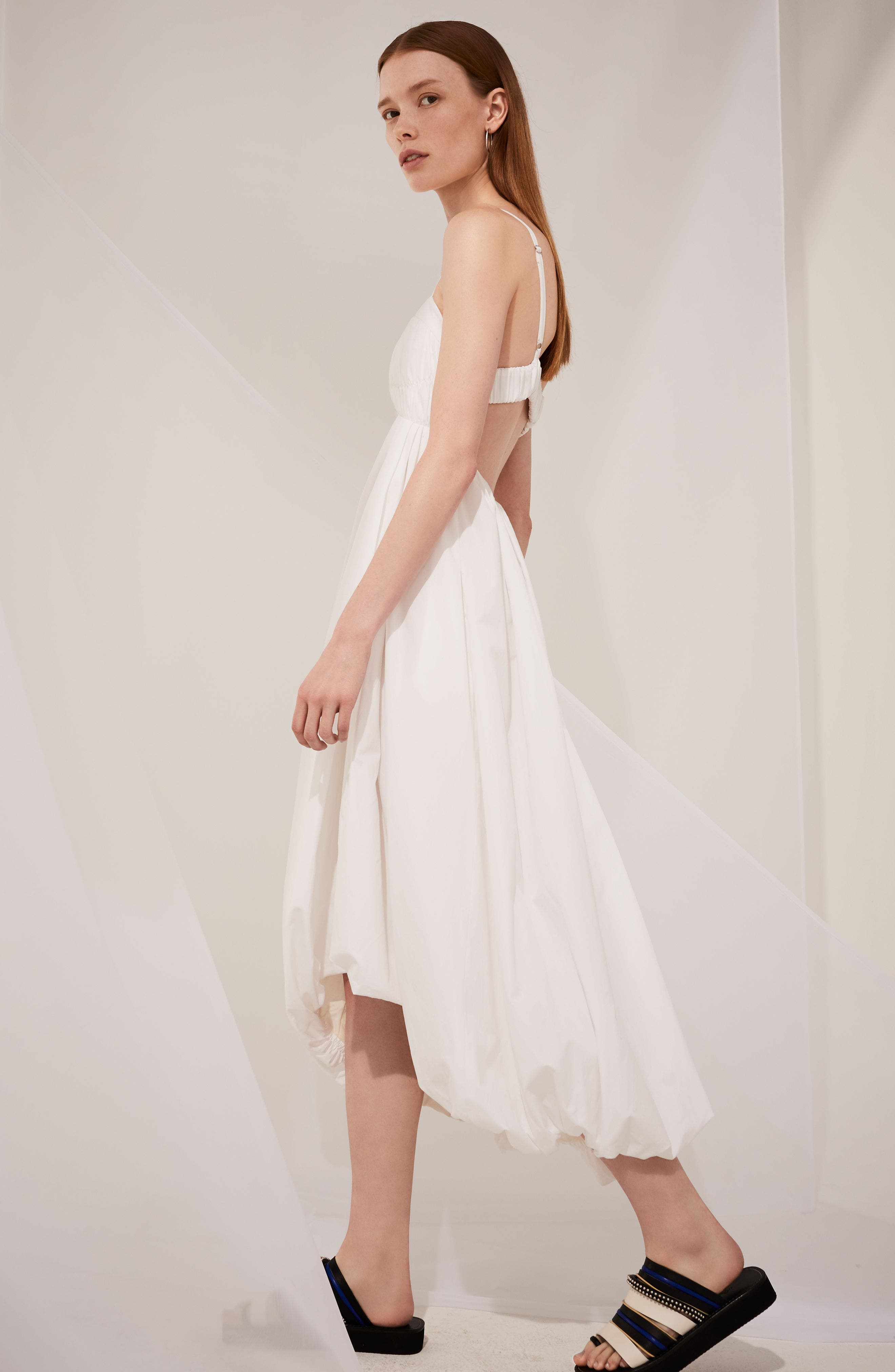 Twist Front Dress,                             Alternate thumbnail 4, color,                             Optic White
