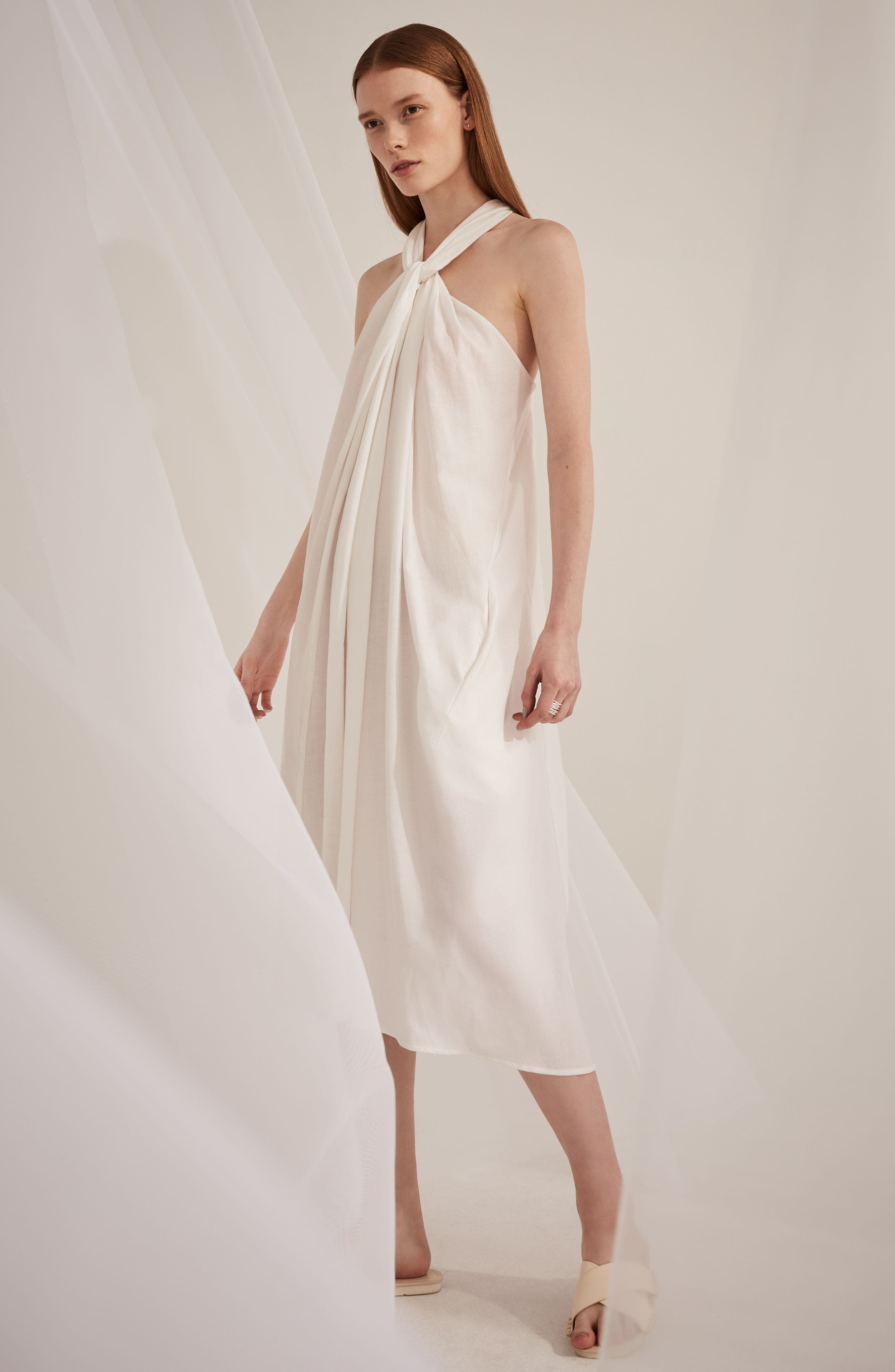 Twist Front Dress,                             Alternate thumbnail 6, color,                             Optic White