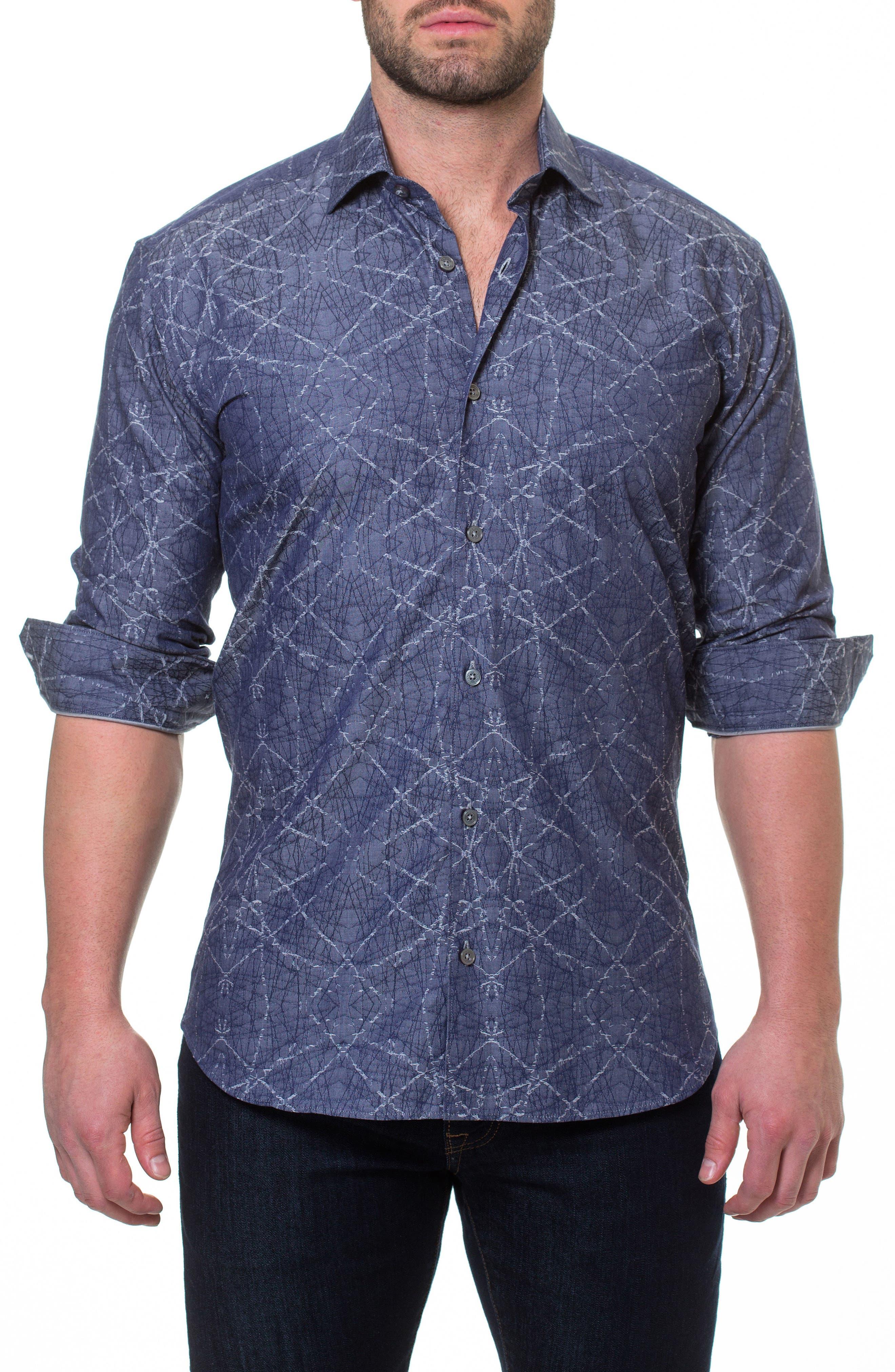 Luxor Spider Slim Fit Sport Shirt,                             Alternate thumbnail 3, color,                             Blue