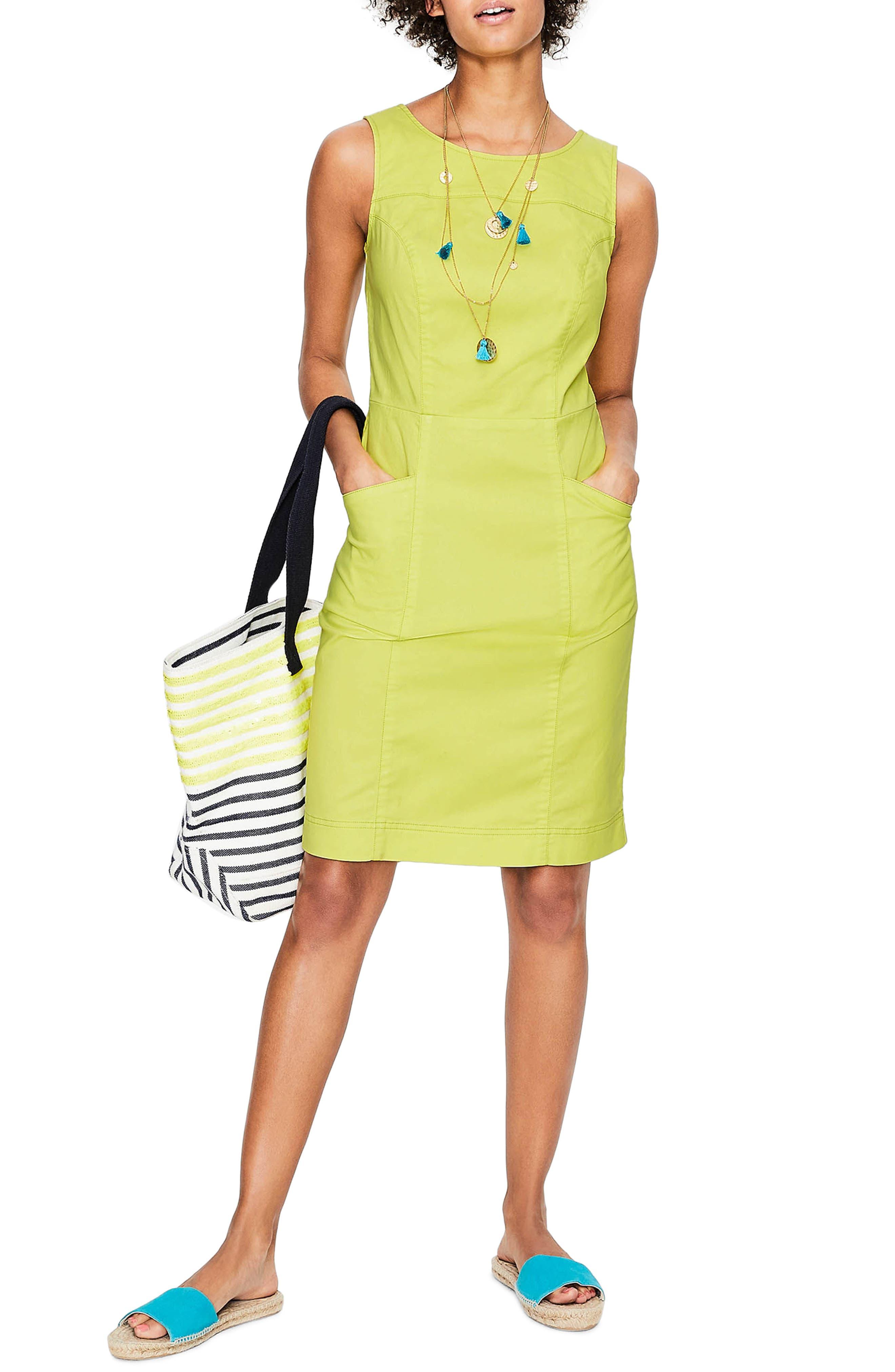 Tamara Stretch Cotton Sleeveless Dress,                         Main,                         color, Citrus