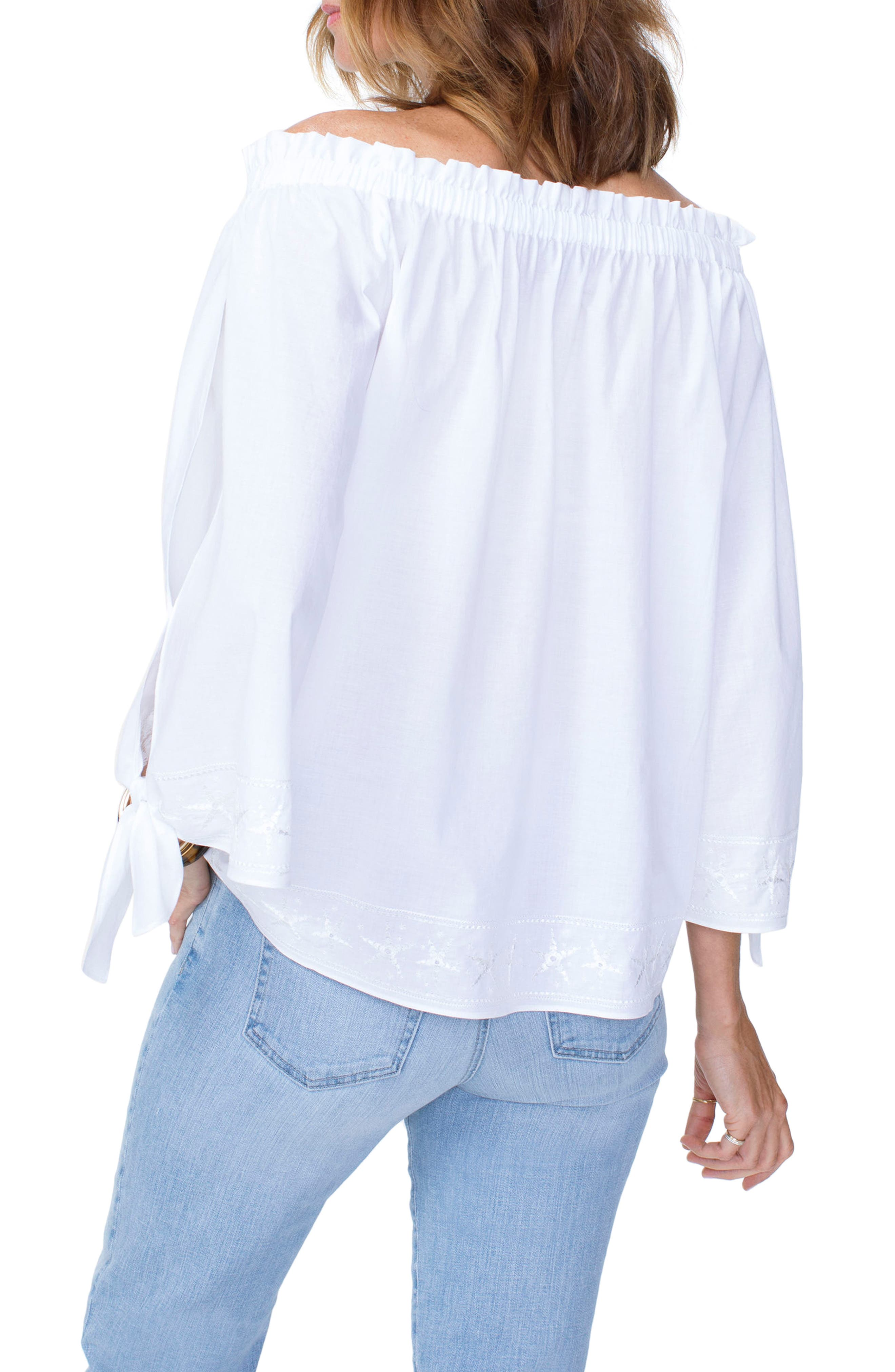 Tie Sleeve Off the Shoulder Top,                             Alternate thumbnail 2, color,                             Optic White