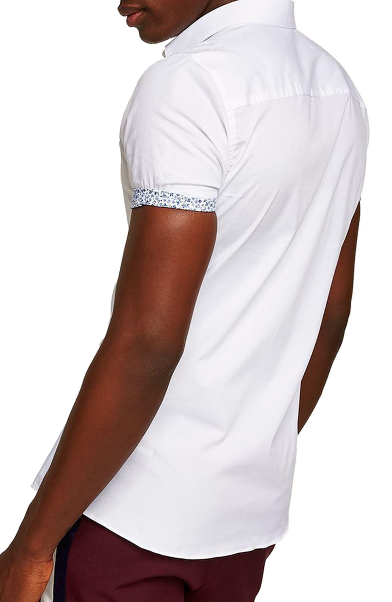 Muscle Fit Floral Trim Shirt,                             Alternate thumbnail 3, color,                             White Multi