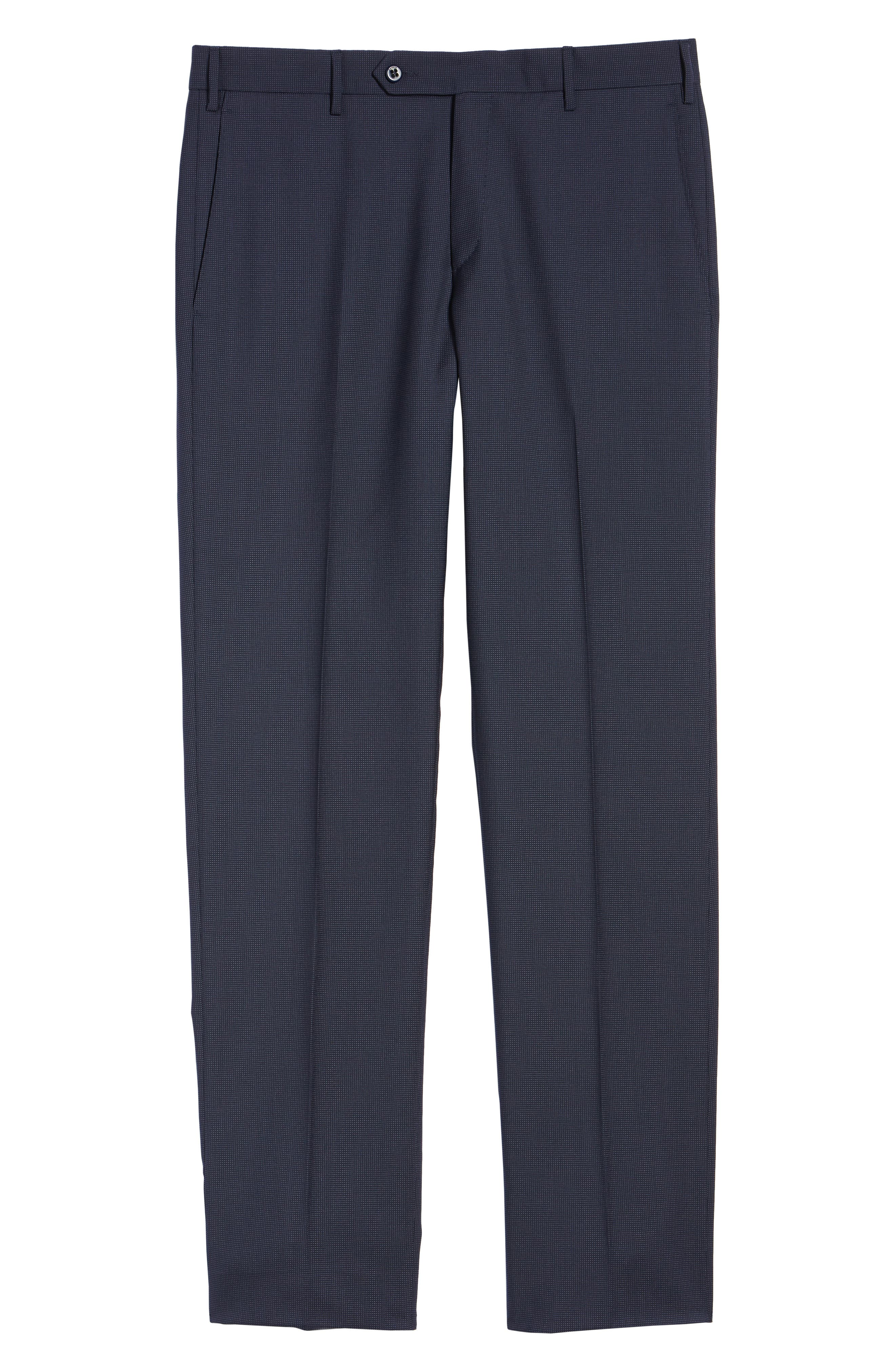 Parker Flat Front Pindot Wool Trousers,                             Alternate thumbnail 6, color,                             Navy