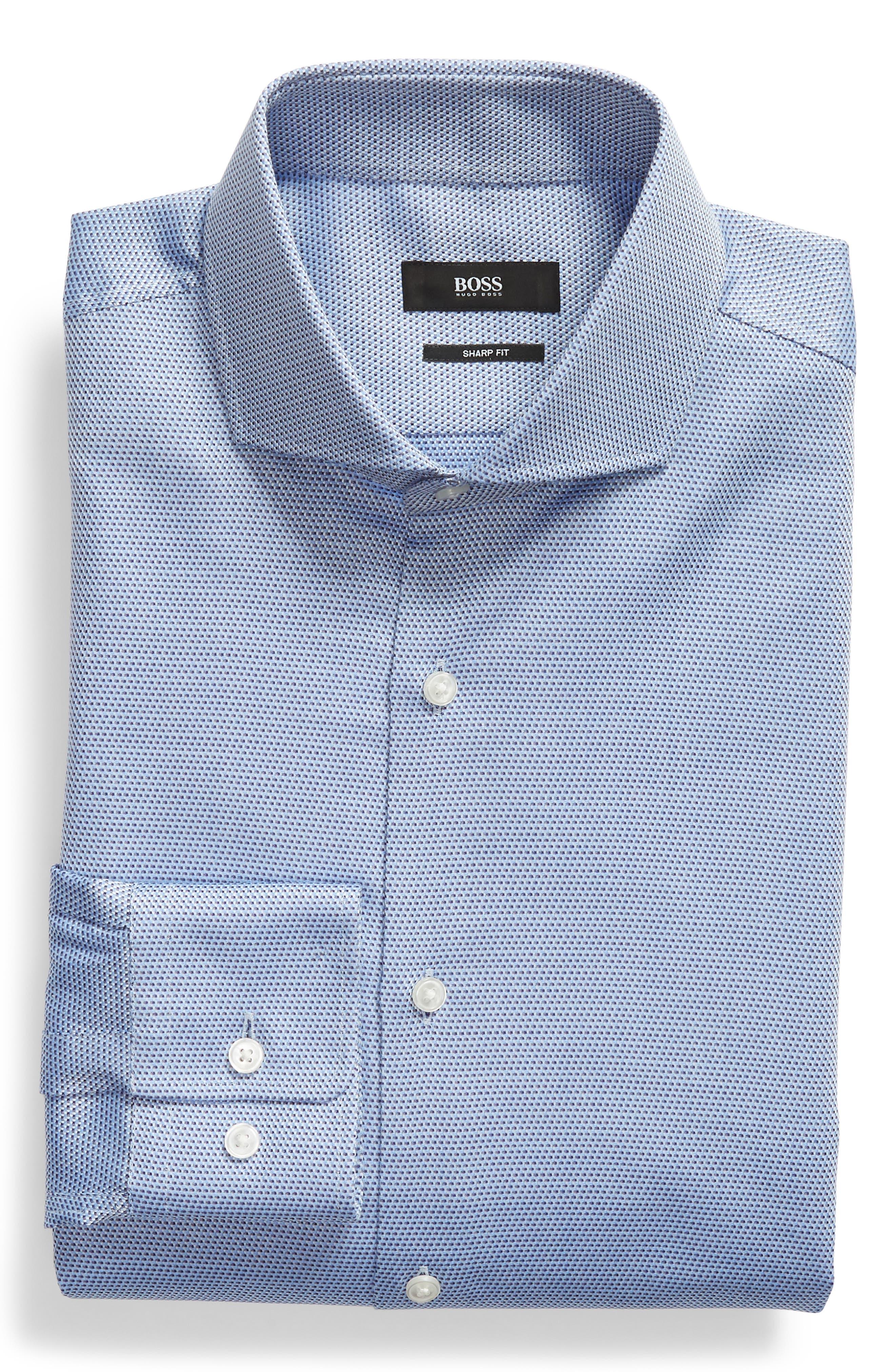 Sharp Fit Dress Shirt,                             Alternate thumbnail 5, color,                             Blue