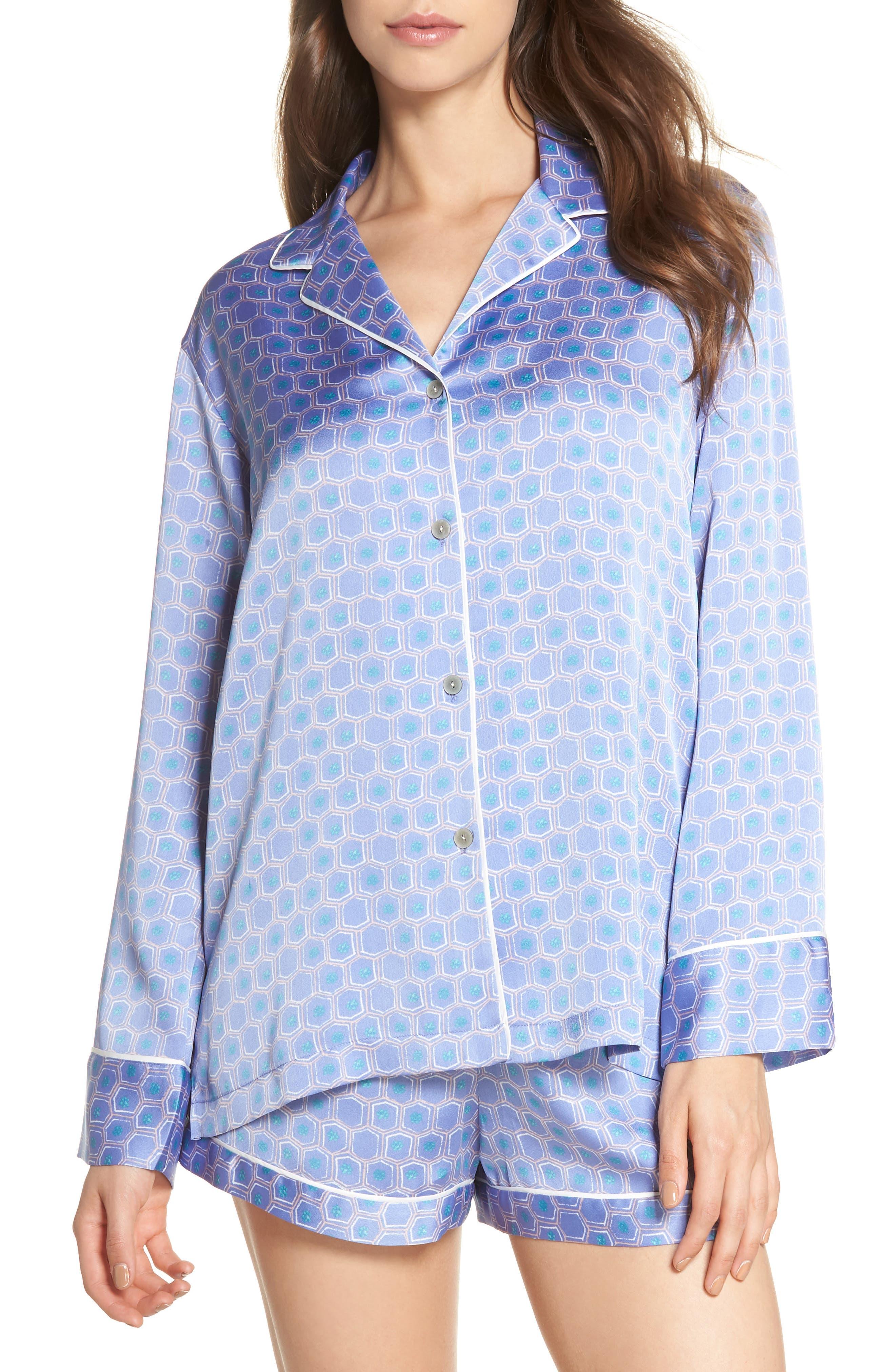 Honeycomb Short Pajamas,                             Main thumbnail 1, color,                             Wedgewood