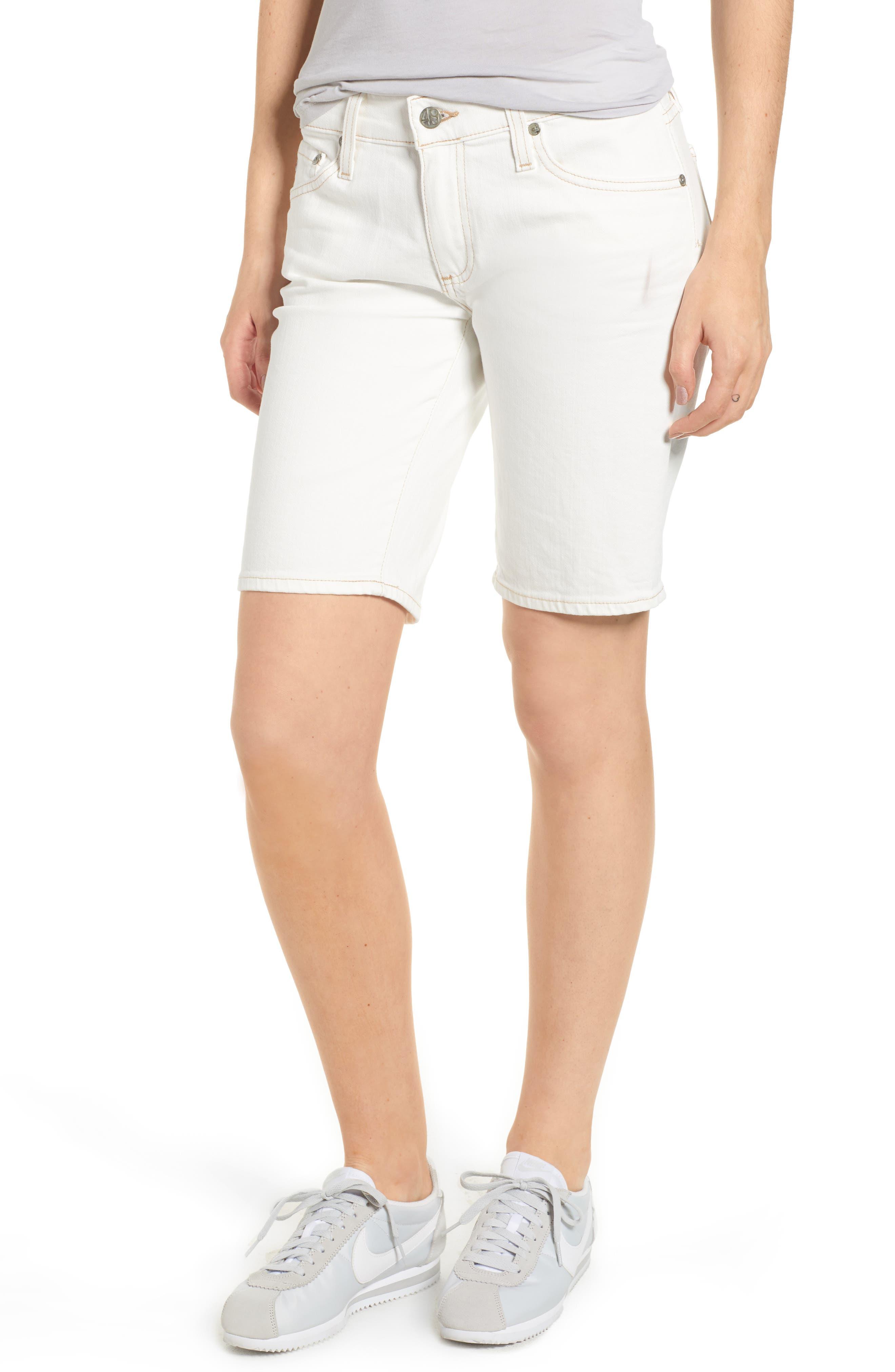 Main Image - AG Nikki Denim Bermuda Shorts (1 Year Neutral White)