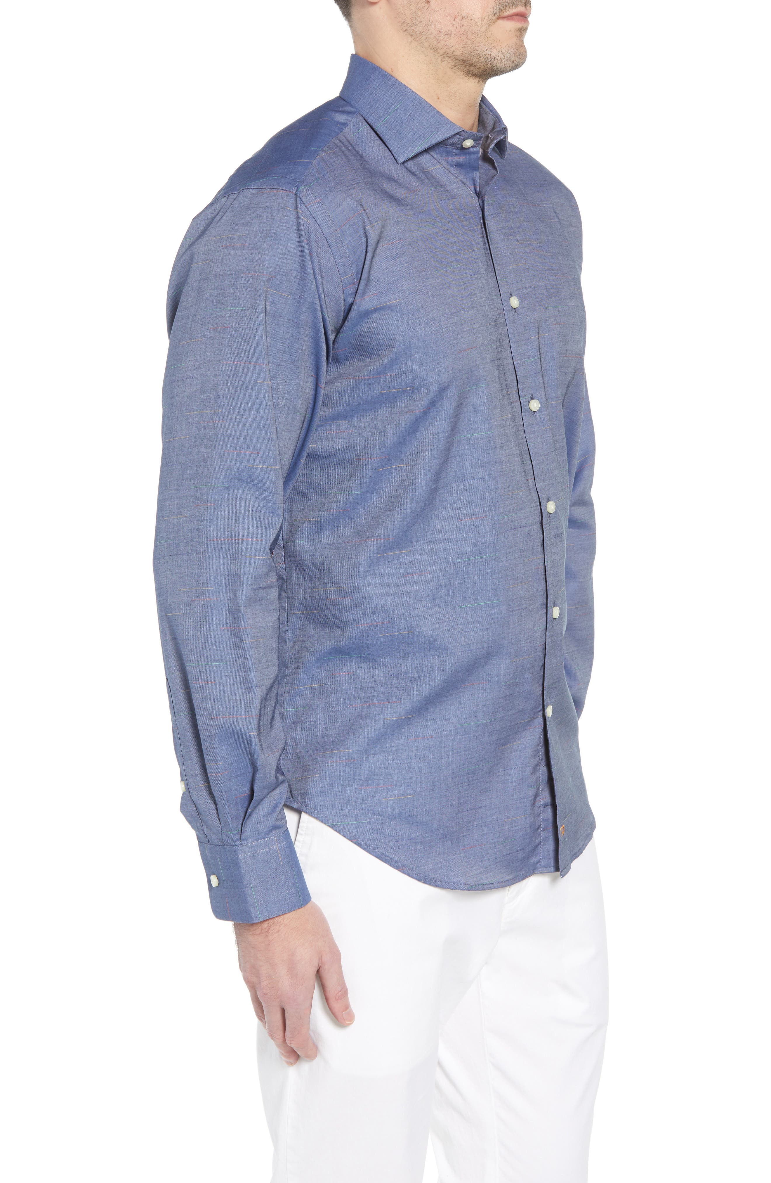 Regular Fit Chambray Sport Shirt,                             Alternate thumbnail 3, color,                             Blue