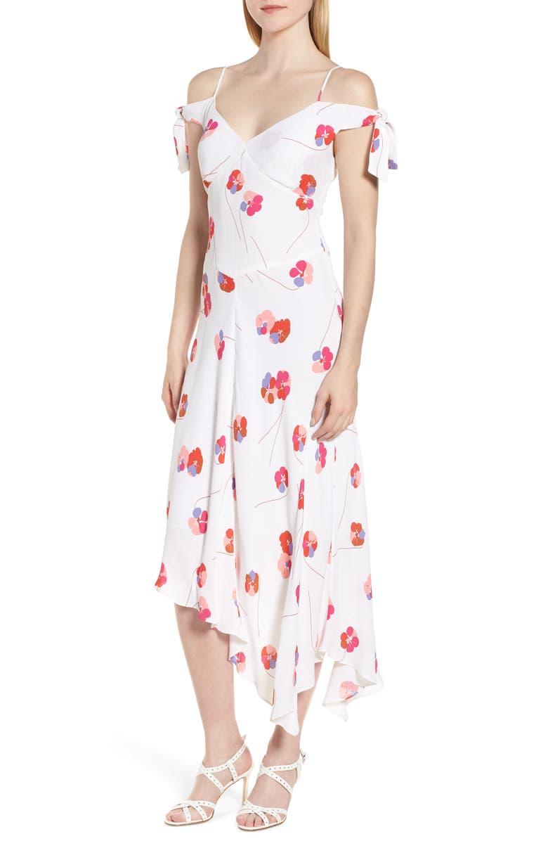 Tie Sleeve Cold Shoulder Floral Midi Dress