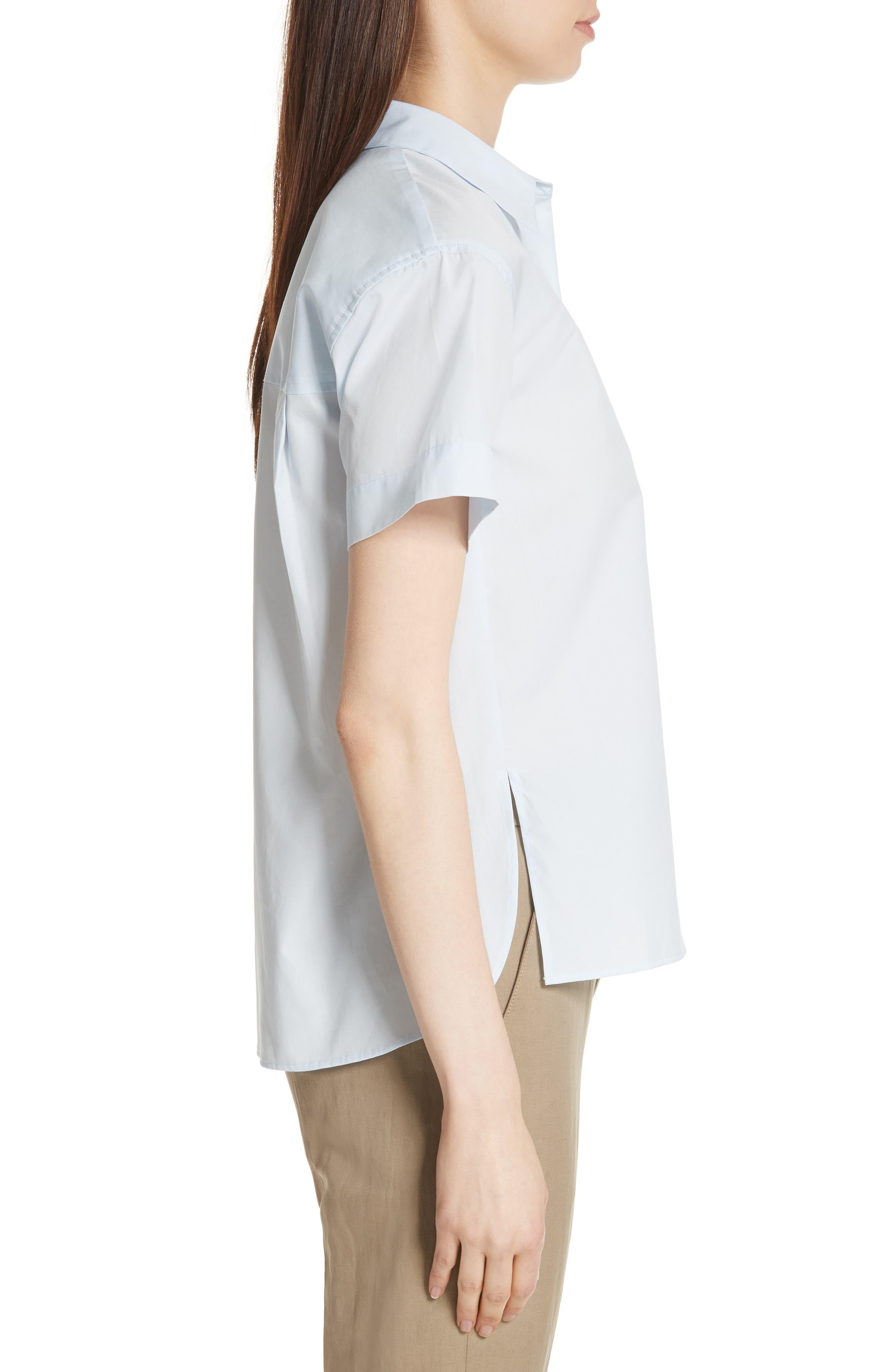 Short Sleeve Cotton Shirt,                             Alternate thumbnail 3, color,                             Powder Blue
