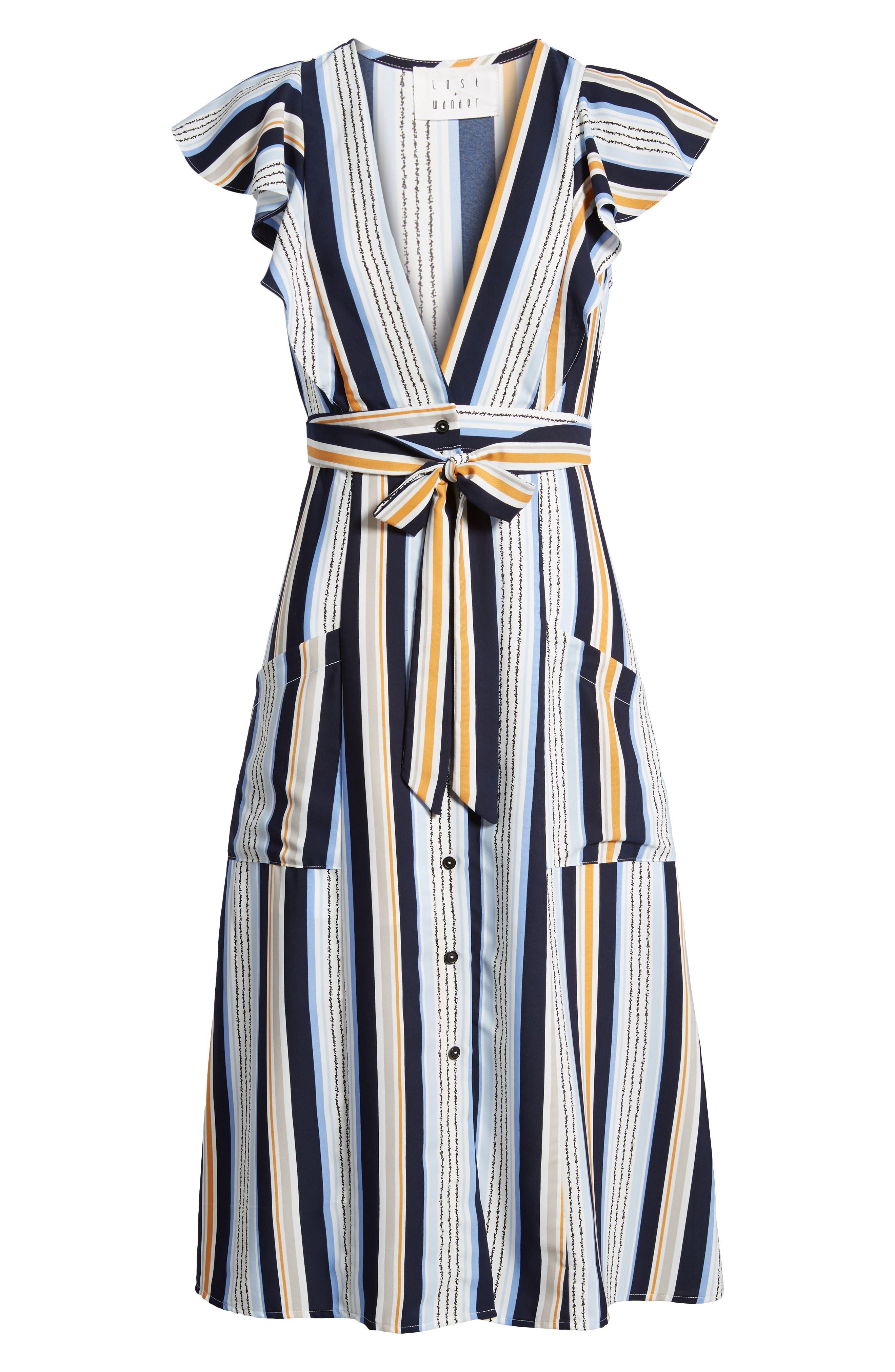 Claudia Stripe Midi Dress,                             Alternate thumbnail 8, color,                             Blue/ Orange Stripe
