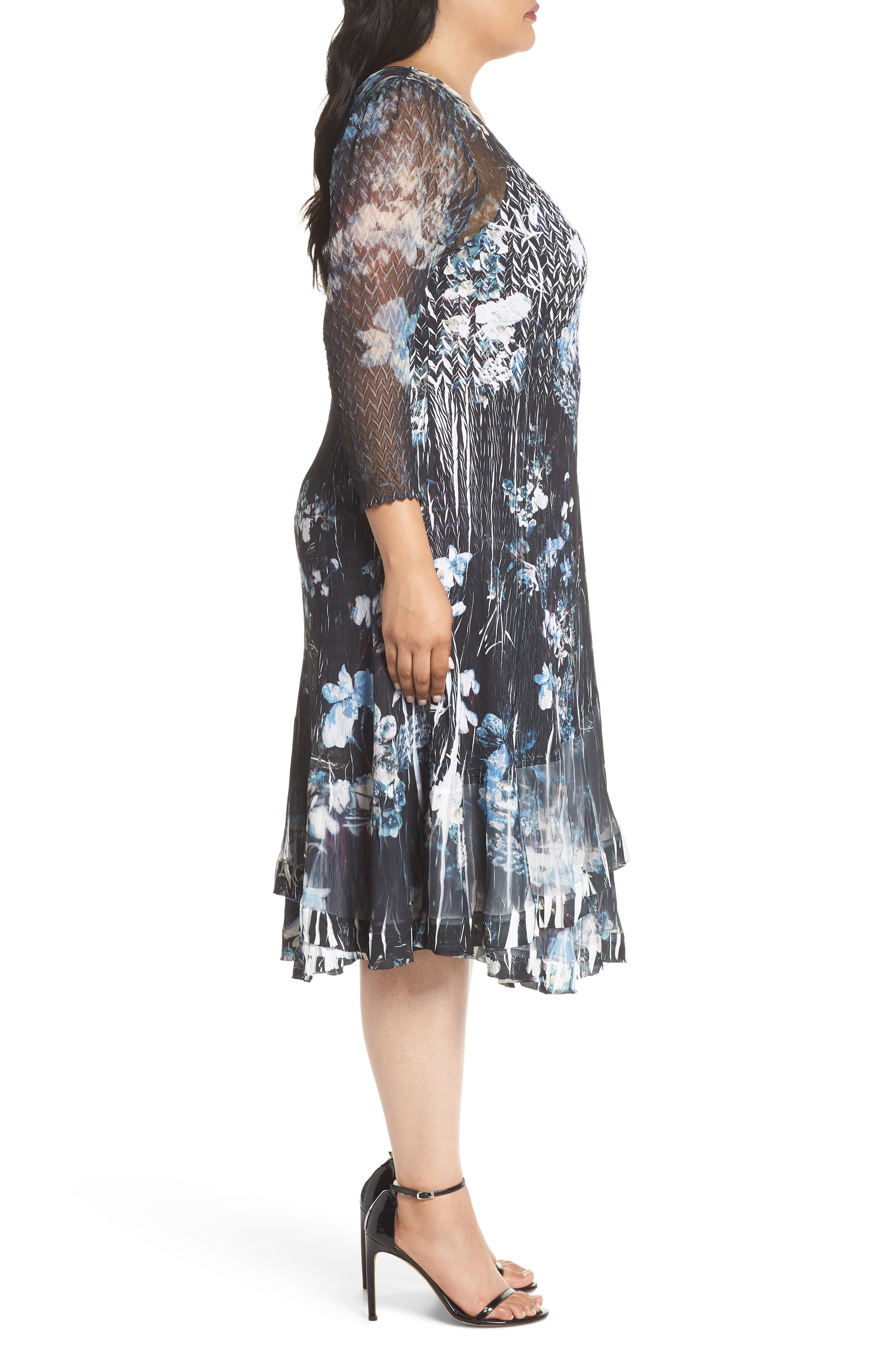Floral Georgette & Chiffon A-Line Dress,                             Alternate thumbnail 3, color,                             India Ink