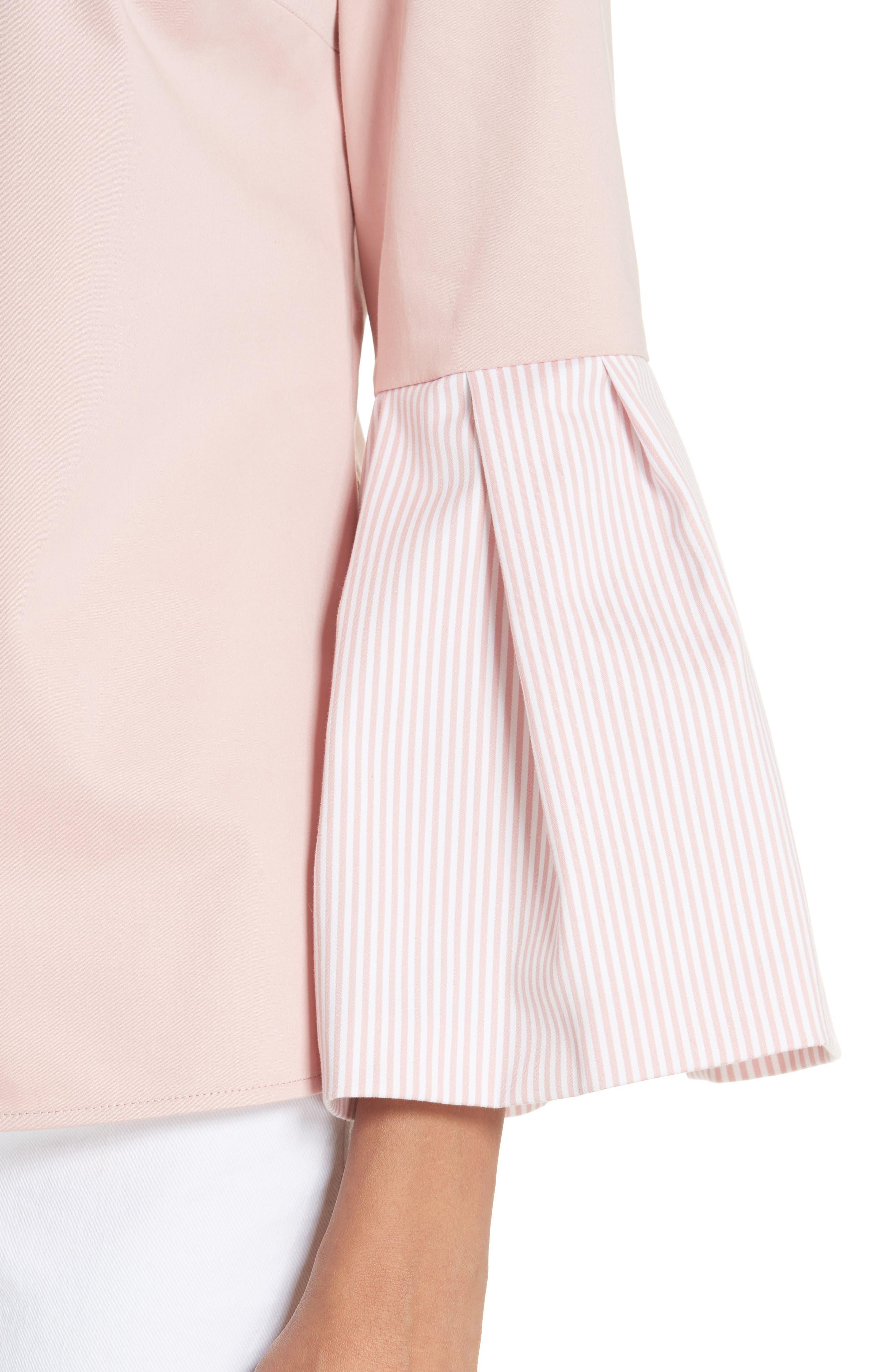 Stripe Bell Sleeve Top,                             Alternate thumbnail 4, color,                             Dusky Pink