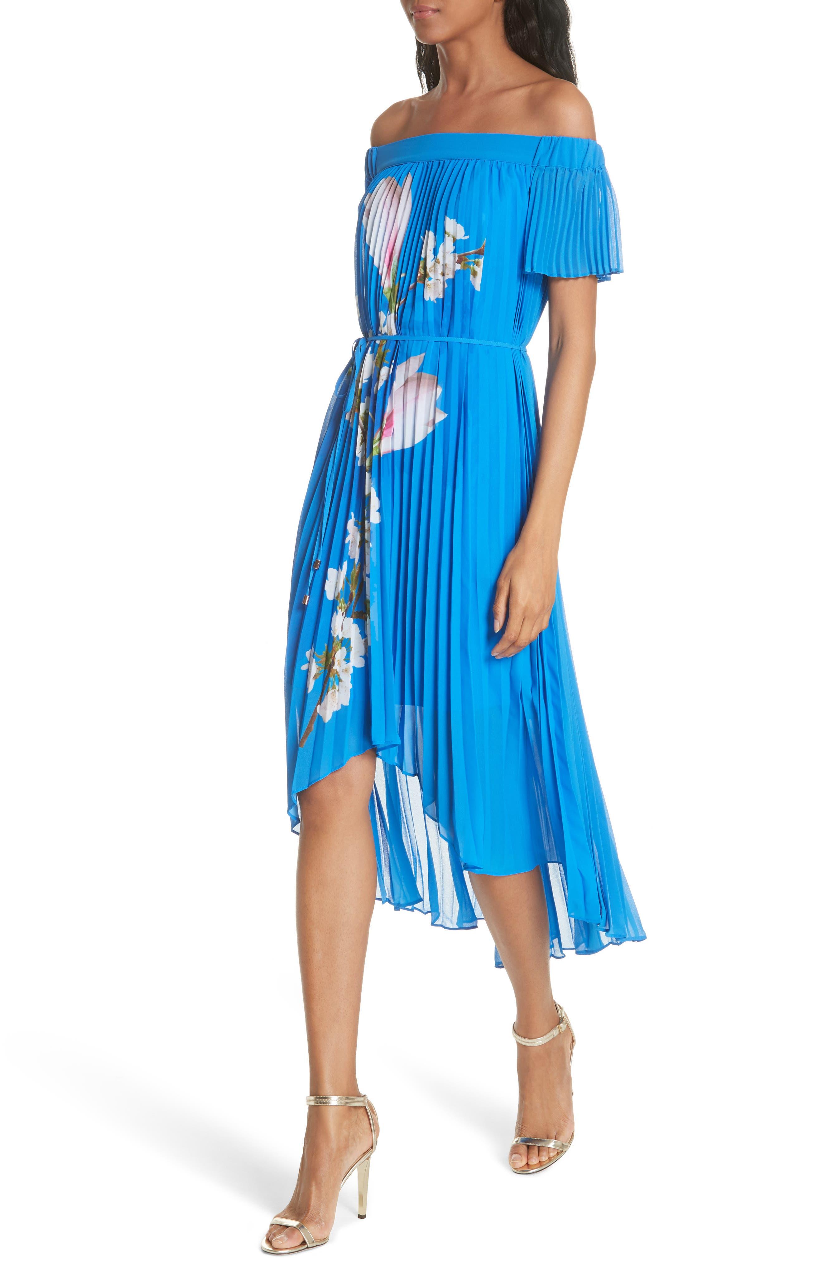Harmony Pleat High/Low Dress,                             Alternate thumbnail 4, color,                             Bright Blue