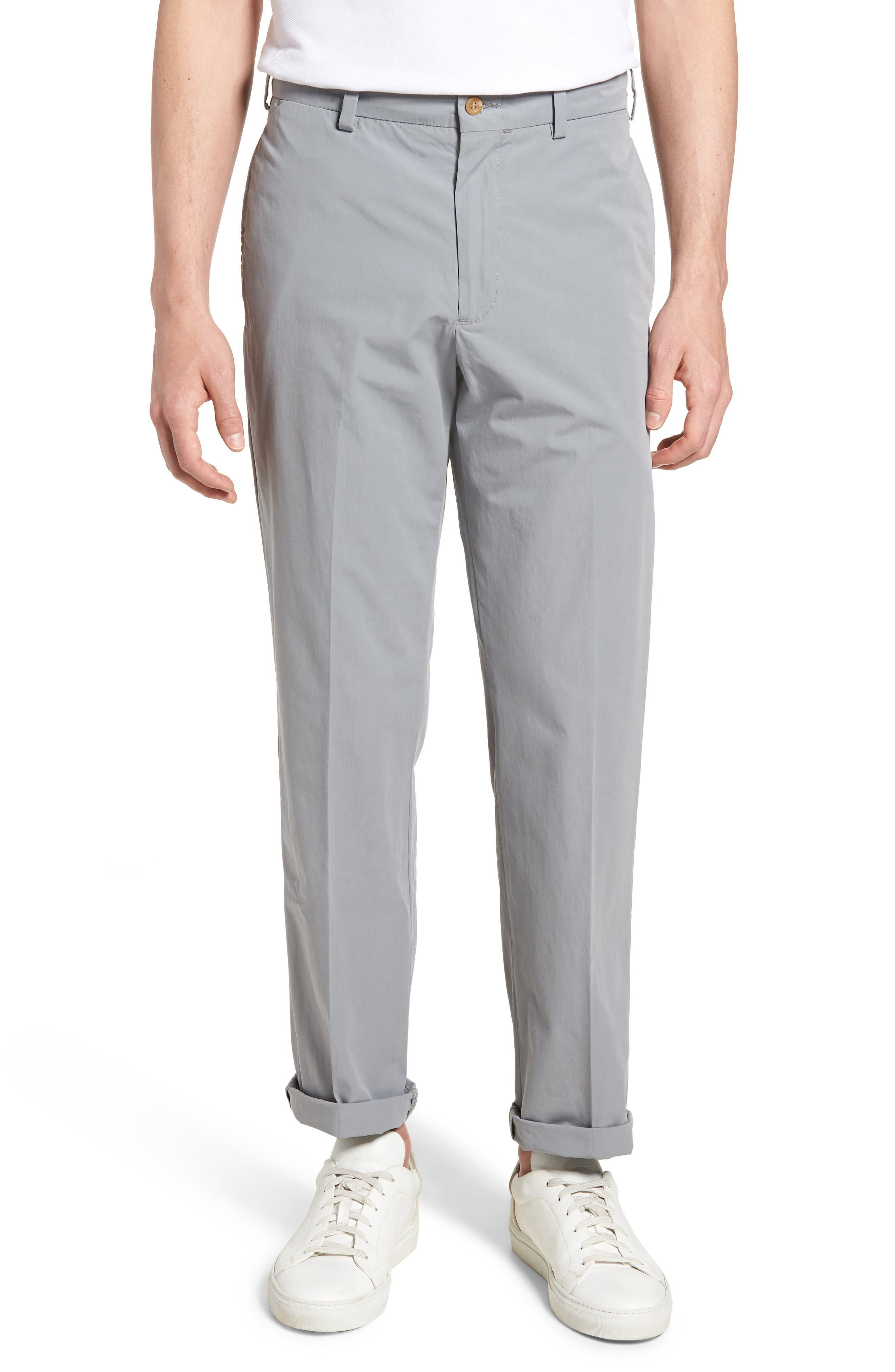 M2 Classic Fit Flat Front Tropical Cotton Poplin Pants,                         Main,                         color, Nickel