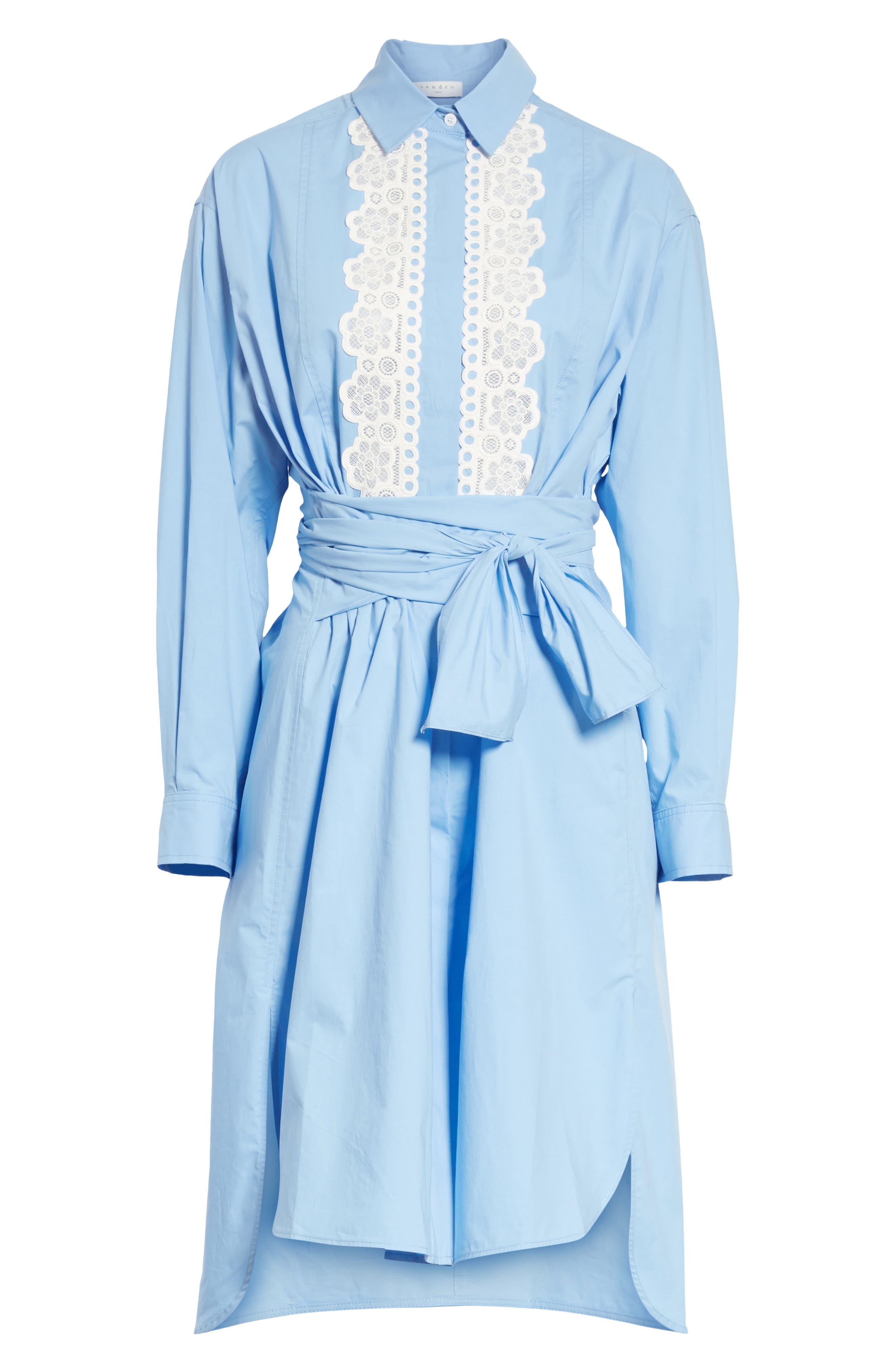 Alternate Image 6  - sandro Bleu Ciel Cotton Shirtdress