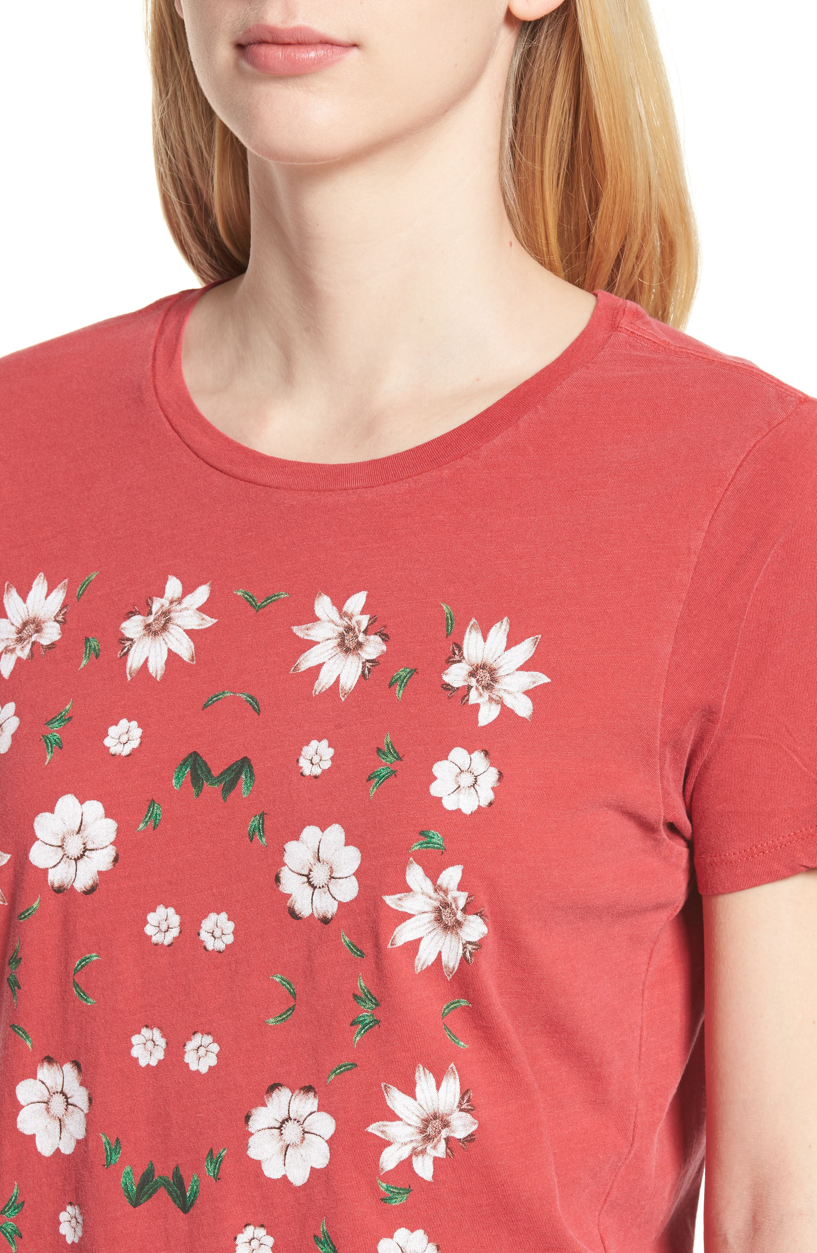 Alternate Image 4  - Lucky Brand Flowers Distressed Tee