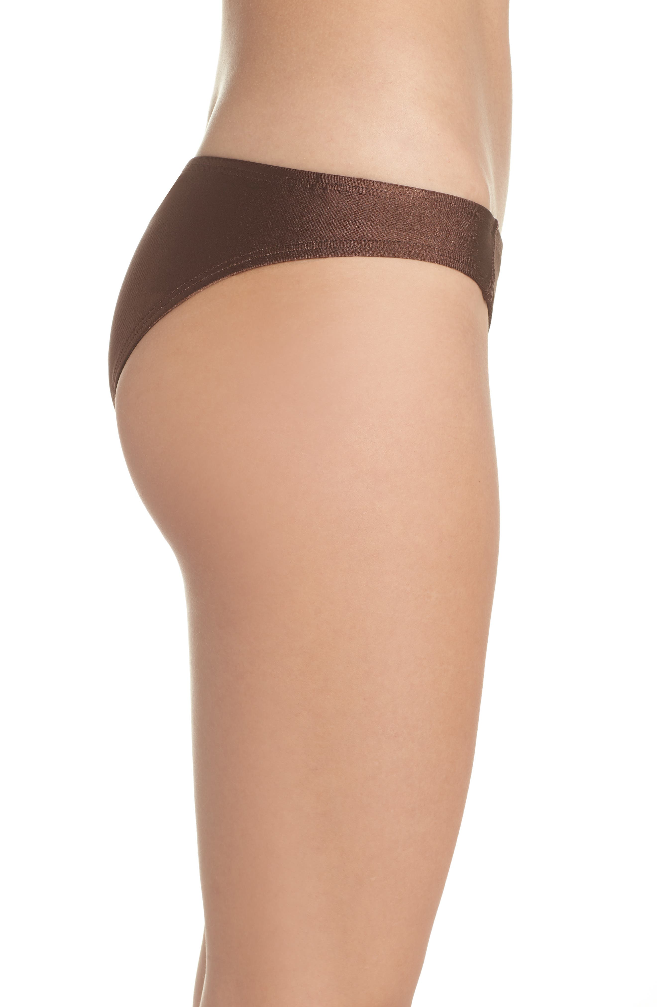 Banded Hipster Bikini Bottoms,                             Alternate thumbnail 3, color,                             Chocolate Glint