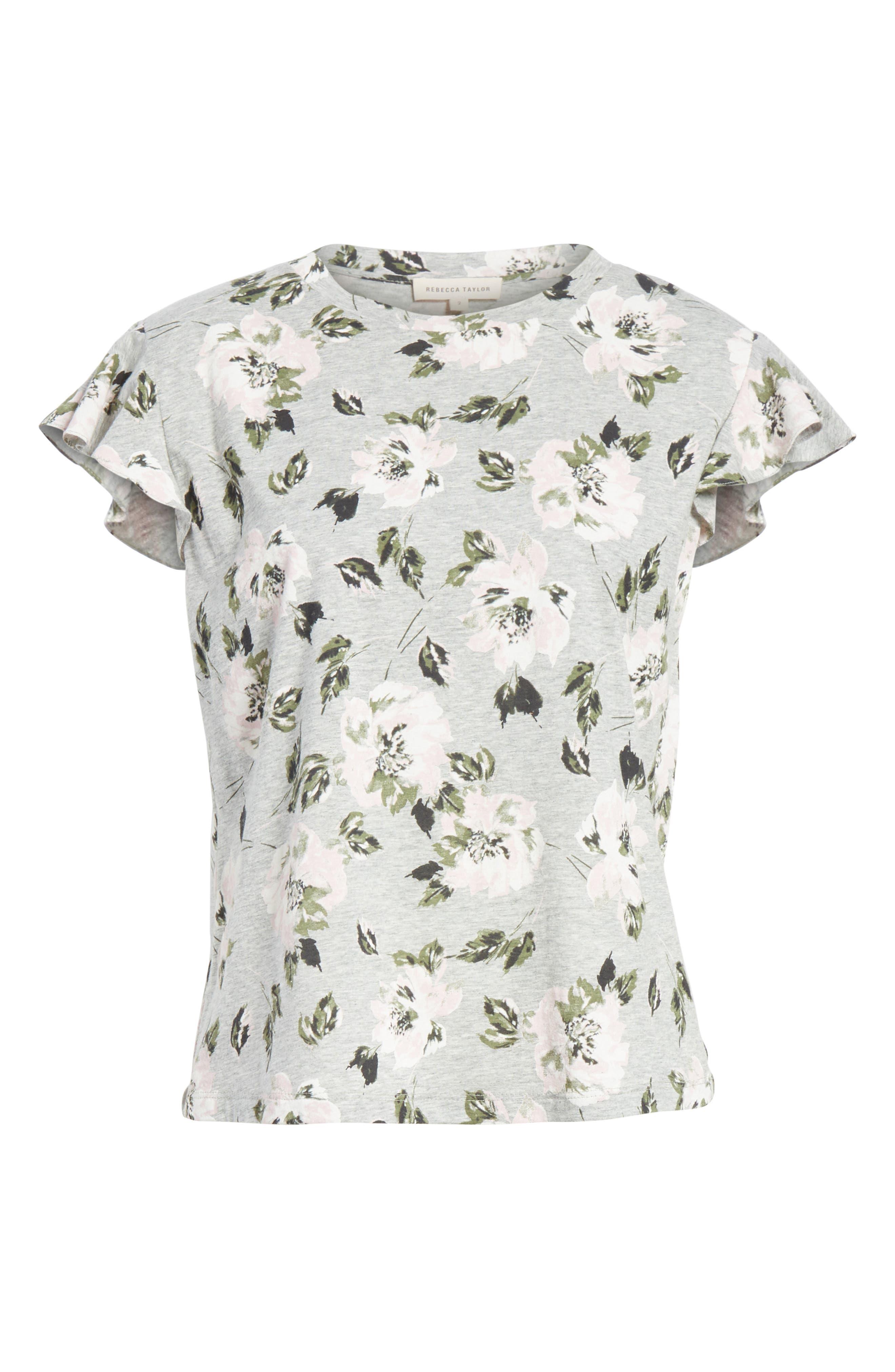 Magnolia Flutter Sleeve Cotton Top,                             Alternate thumbnail 6, color,                             Grey