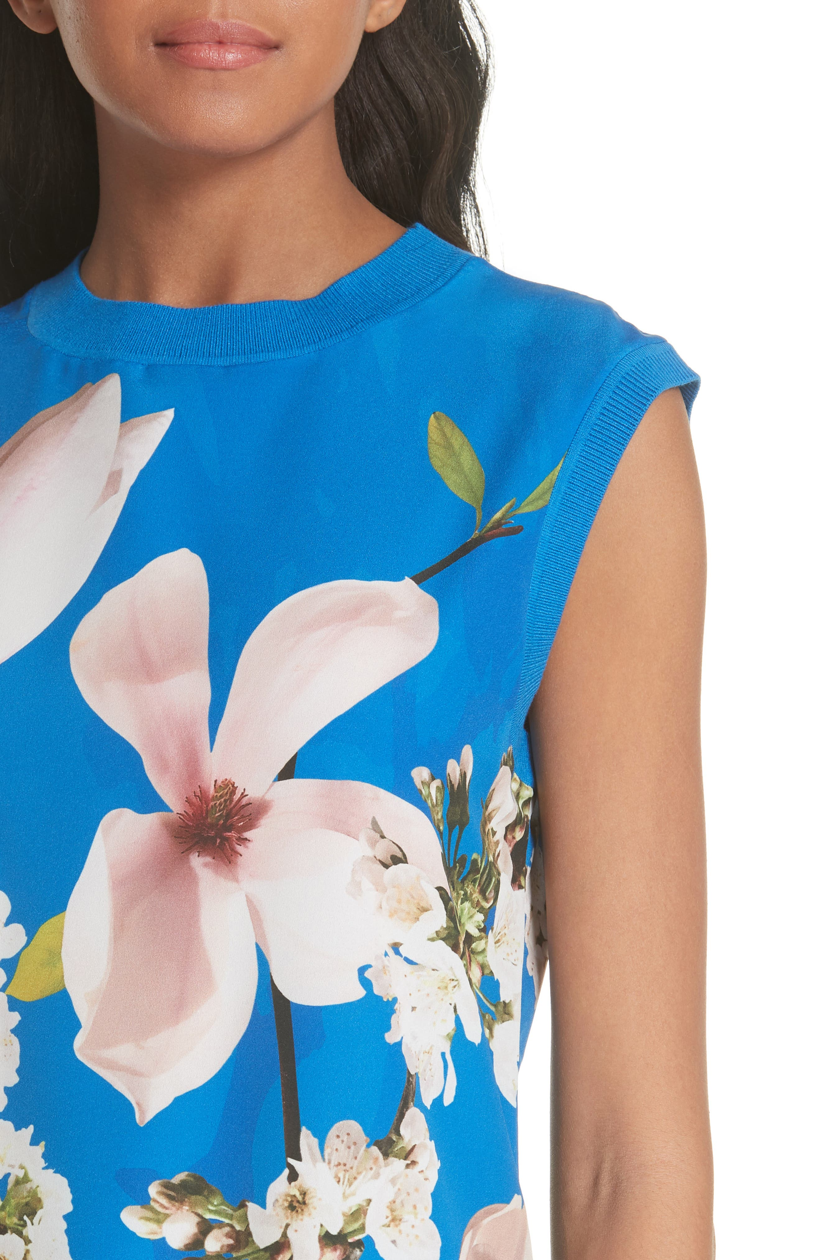 Harmony Floral Mix Media Sleeveless Sweater,                             Alternate thumbnail 4, color,                             Bright Blue