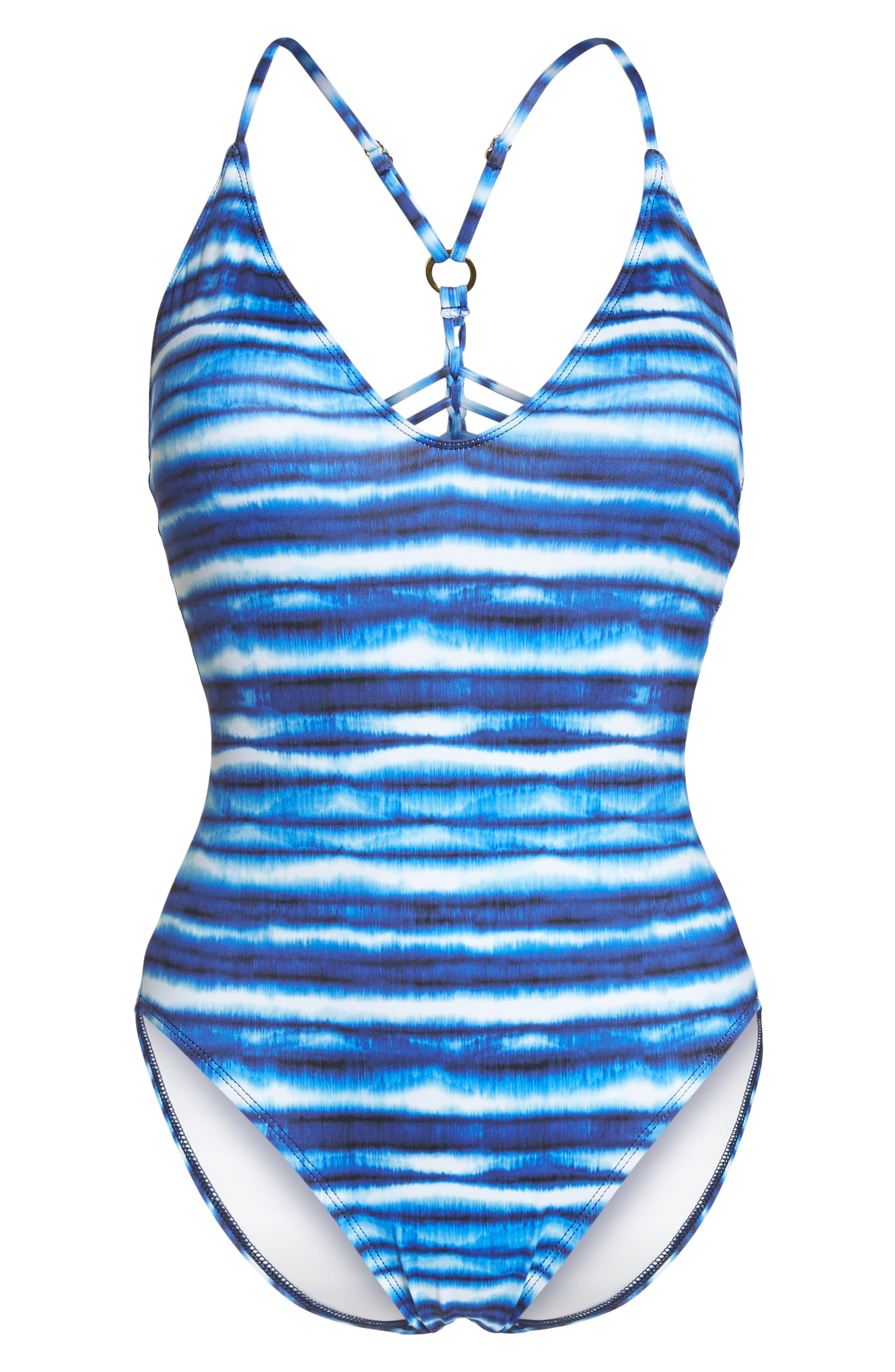 Strappy Back One-Piece Swimsuit,                             Alternate thumbnail 6, color,                             Midnight