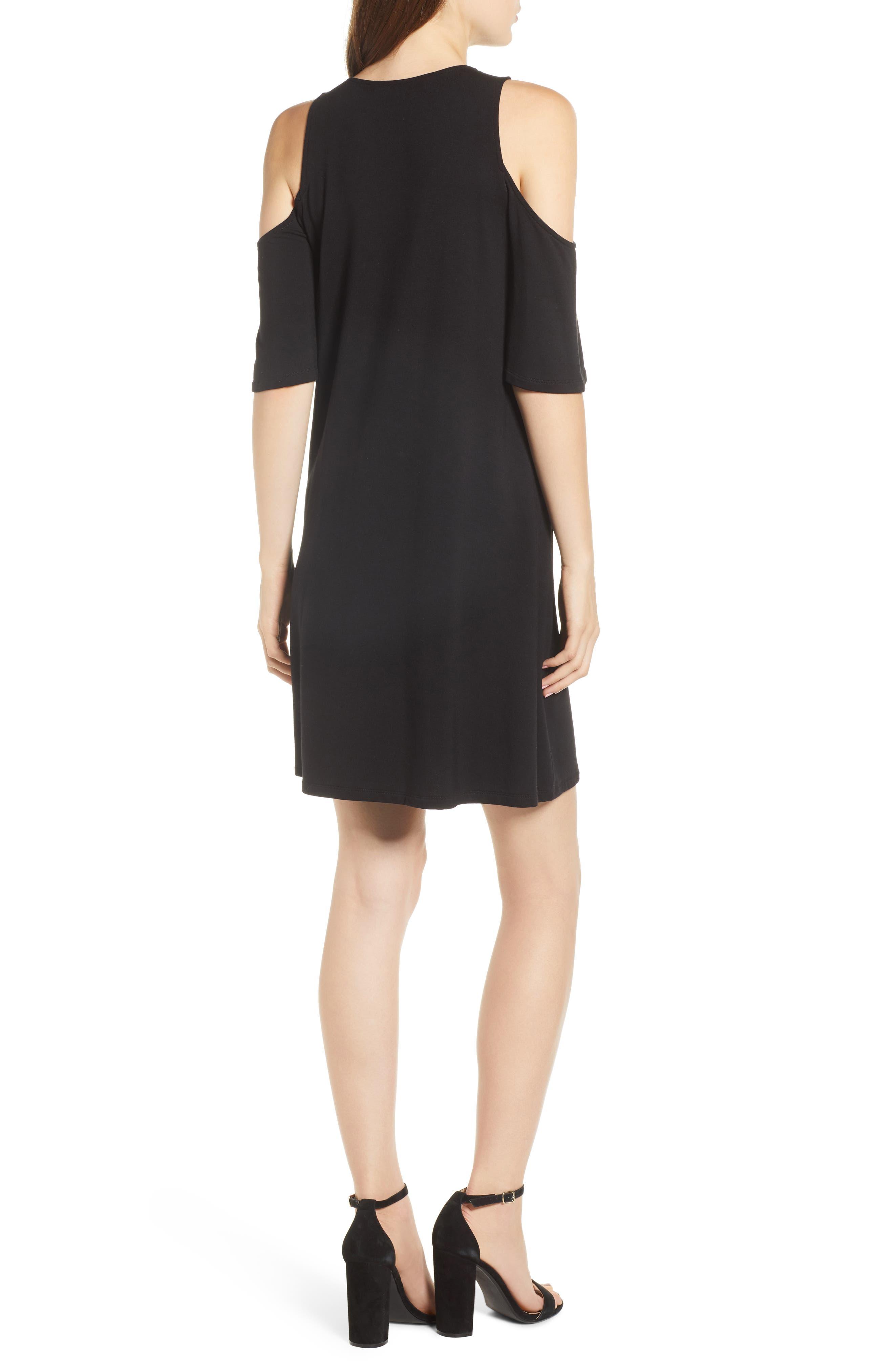 Hyde Cold Shoulder T-Shirt Dress,                             Alternate thumbnail 2, color,                             Black