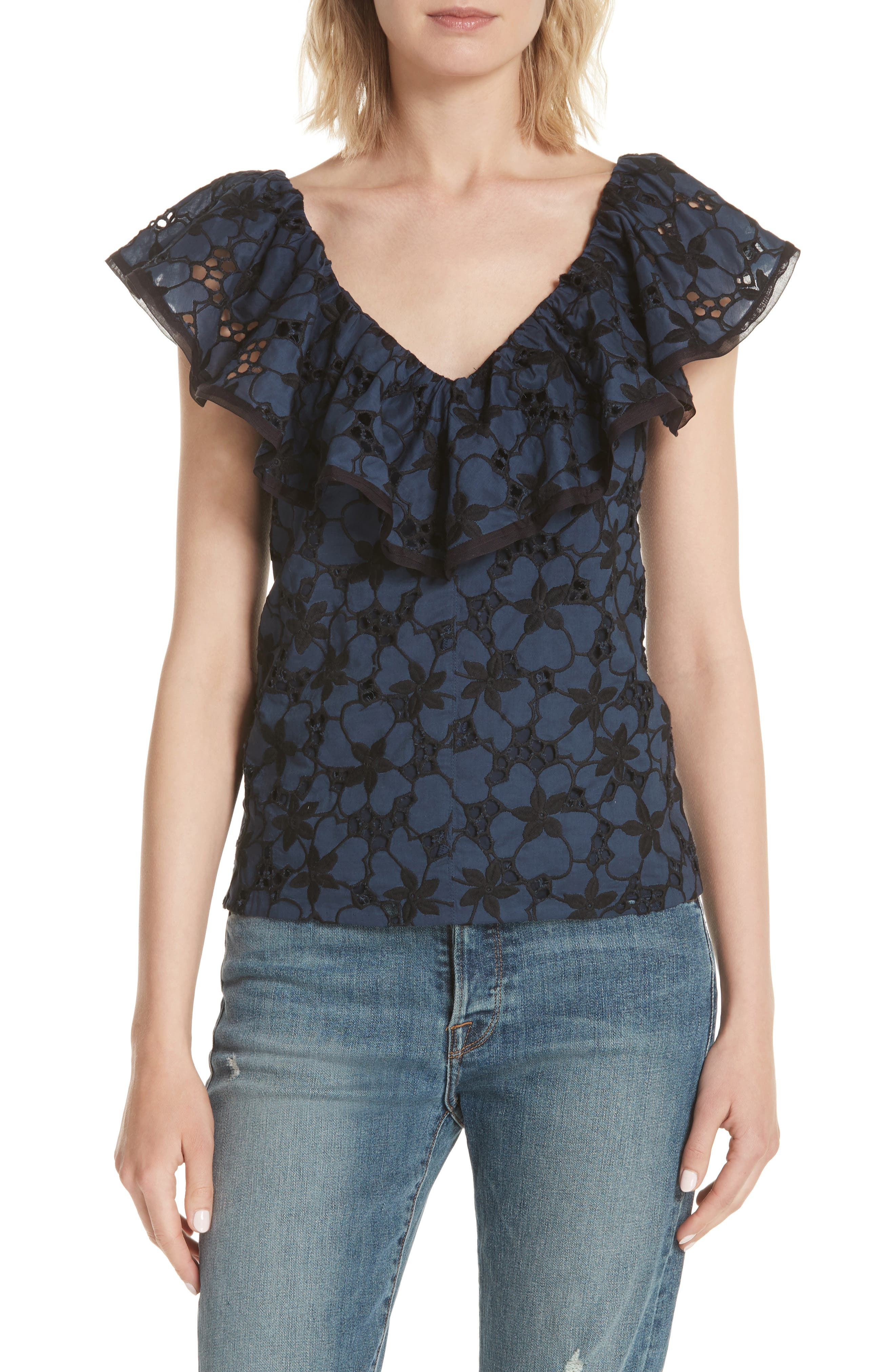 Adriana Embroidered Ruffle Top,                         Main,                         color, Blueberry
